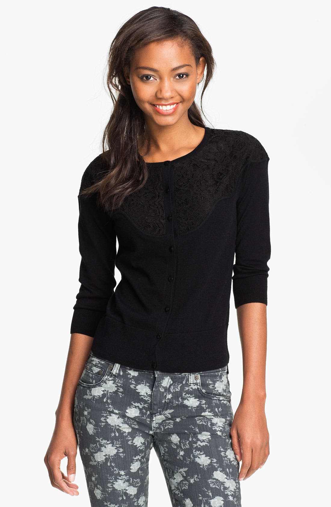 Alternate Image 1 Selected - Halogen® Lace Yoke Cardigan