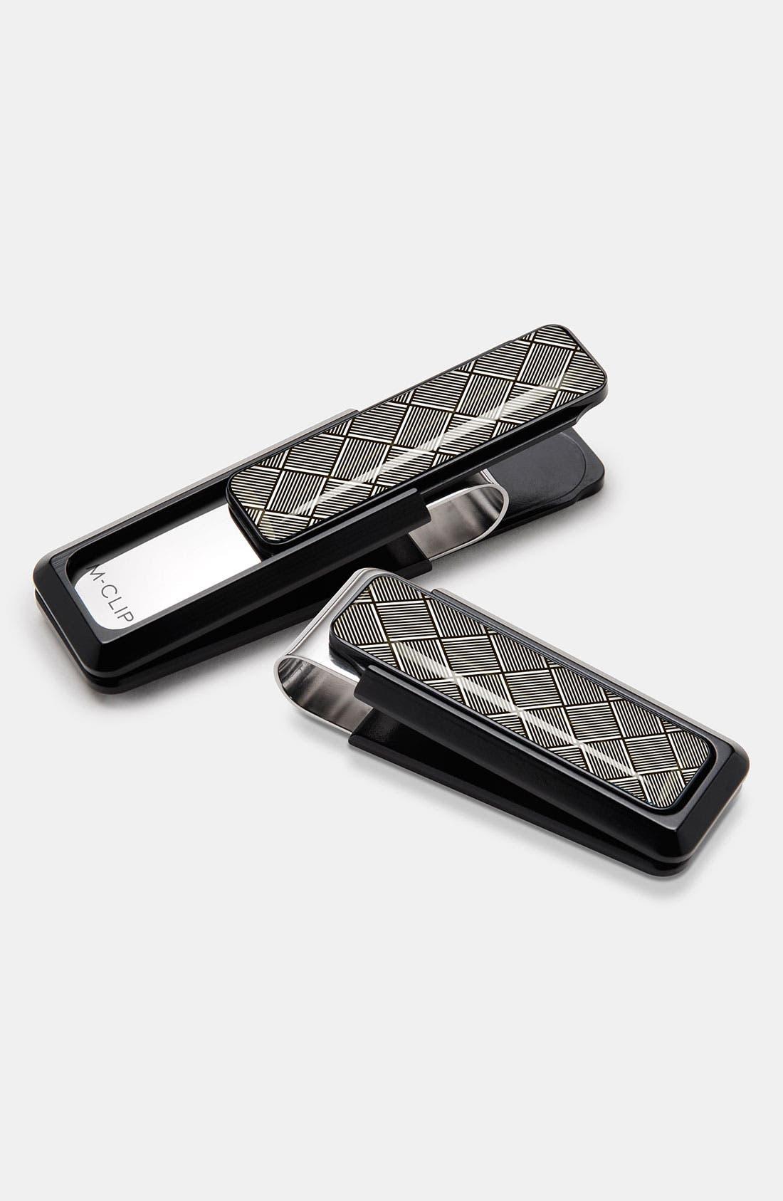 'Ultralight' Money Clip,                         Main,                         color, Black/ Herringbone