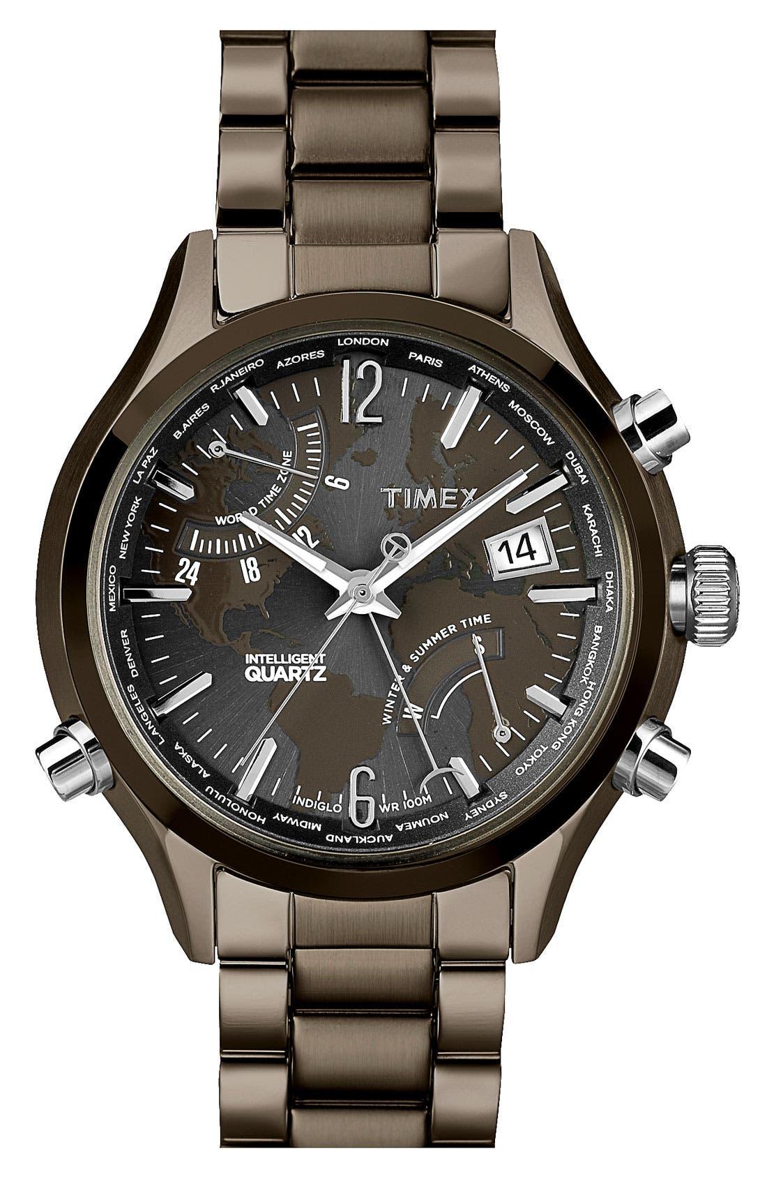 Main Image - Timex® 'Intelligent Quartz' World Time Bracelet Watch, 44mm