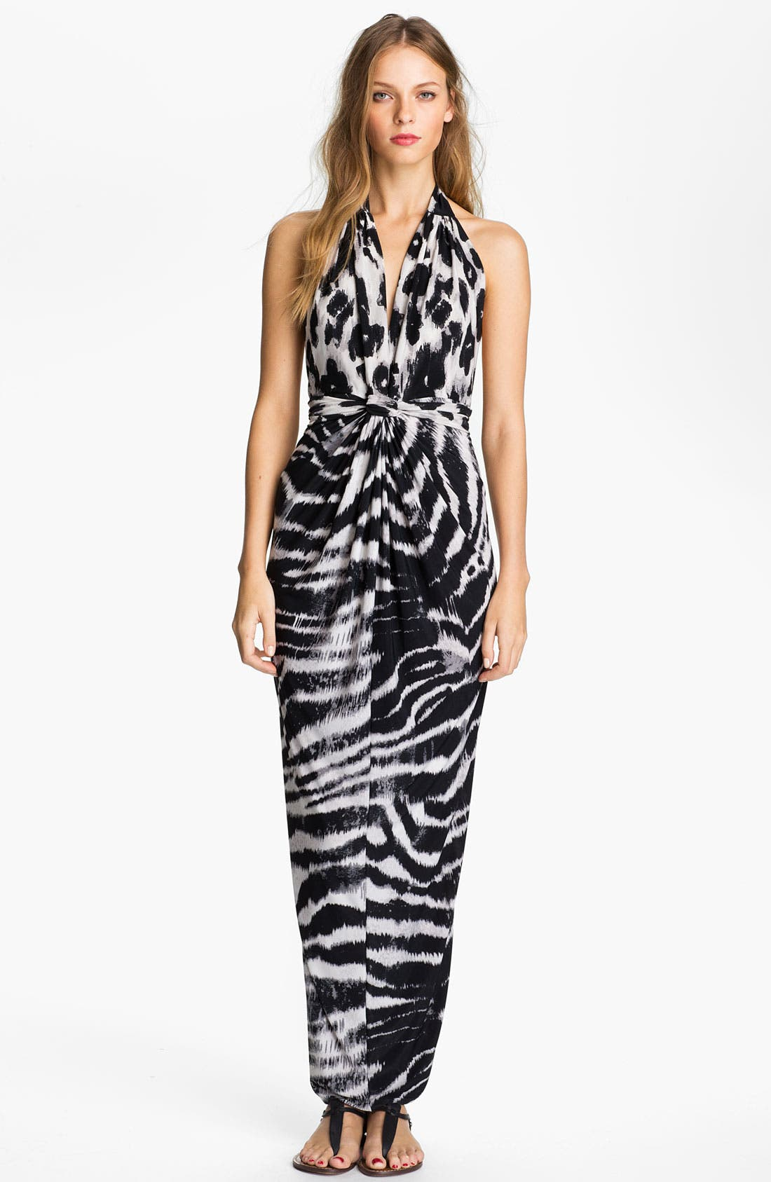 Alternate Image 1 Selected - Tbags Los Angeles V-Neck Printed Halter Maxi Dress