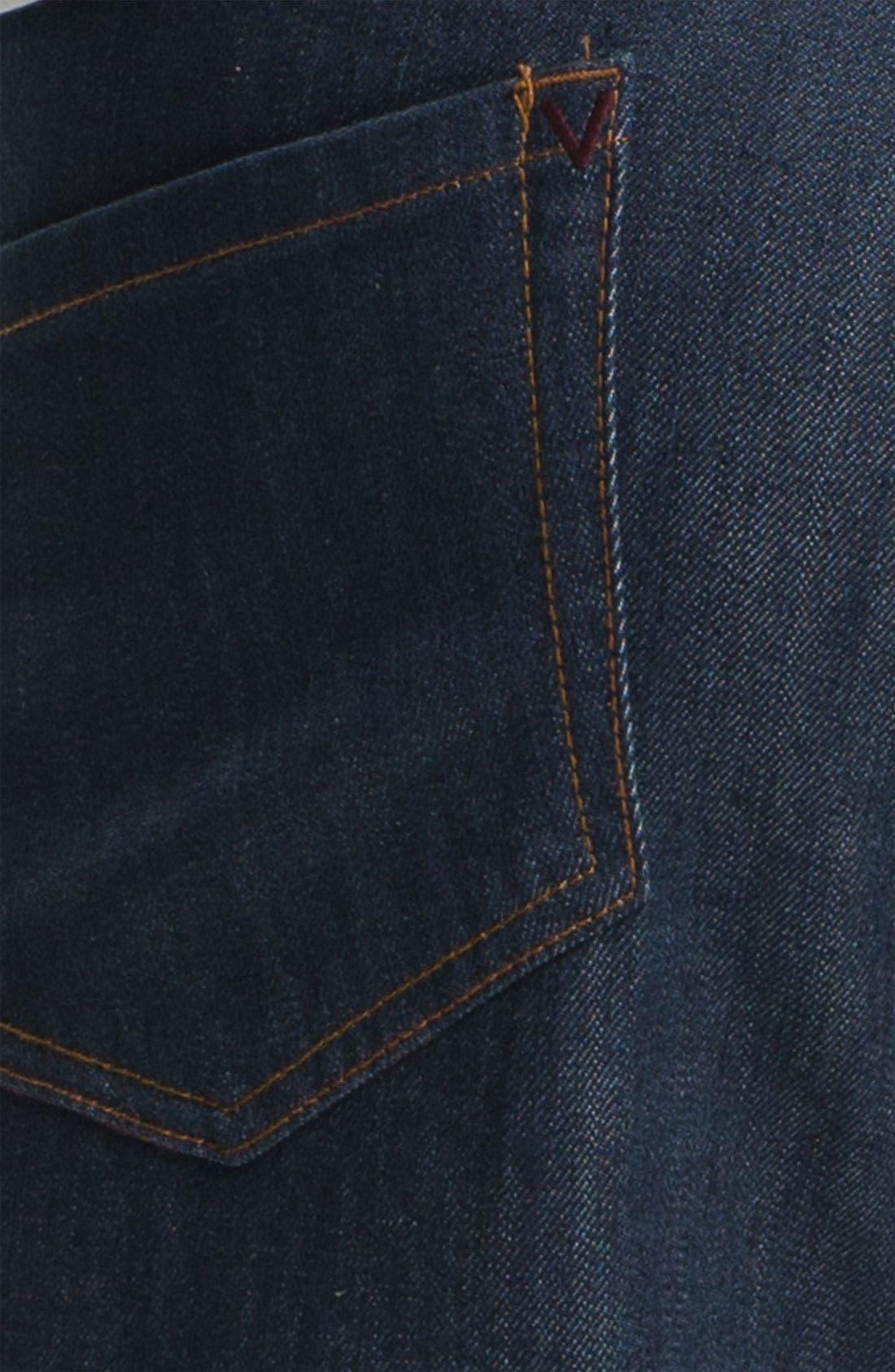 Alternate Image 4  - RVCA Slim Straight Leg Jeans (Classic Blue)