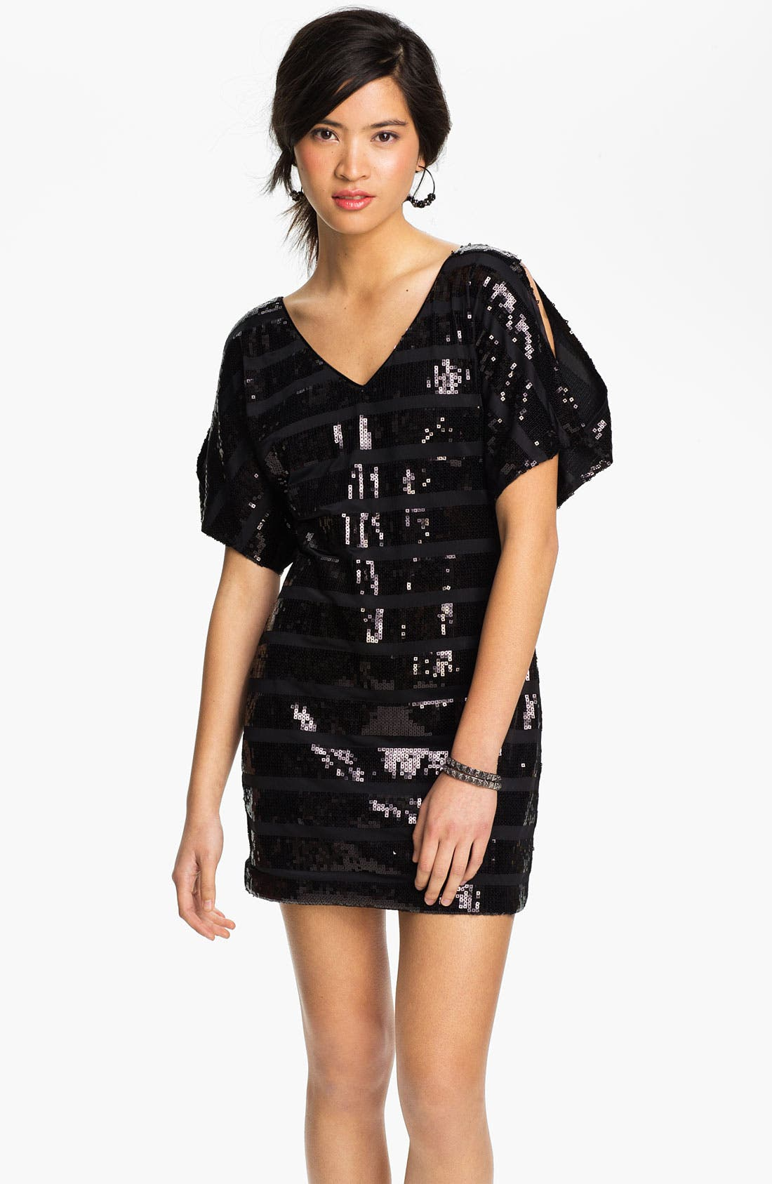Alternate Image 1 Selected - As U Wish Cold Shoulder Sequin Stripe Dress (Juniors)