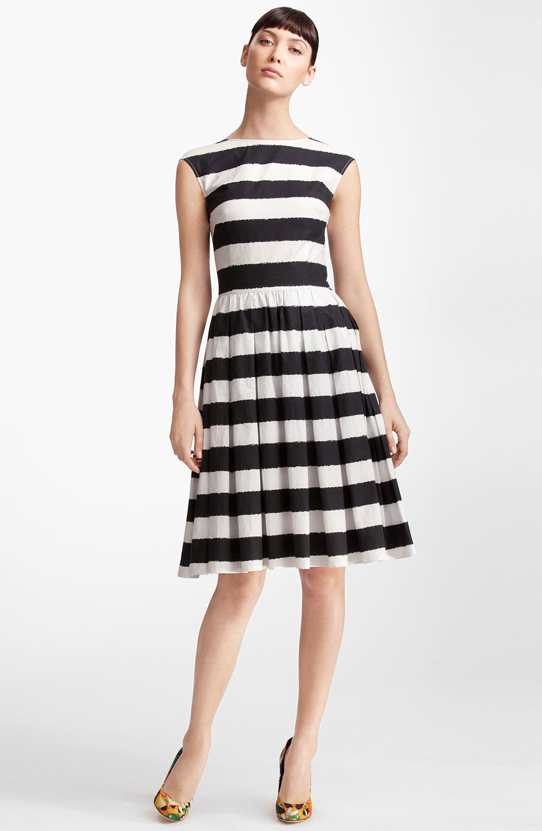 Main Image - Dolce&Gabbana Stripe Full Skirt Poplin Dress