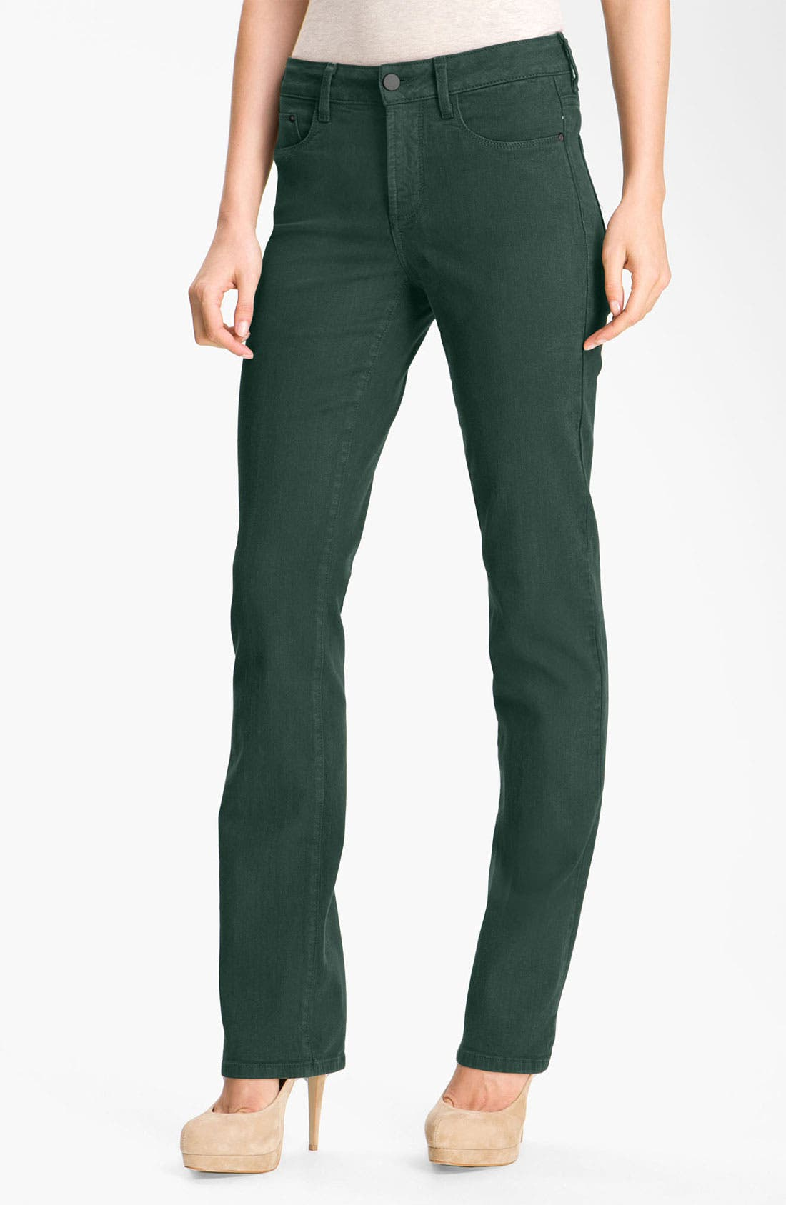 Main Image - NYDJ 'Marilyn' Colored Straight Leg Stretch Jeans (Petite)