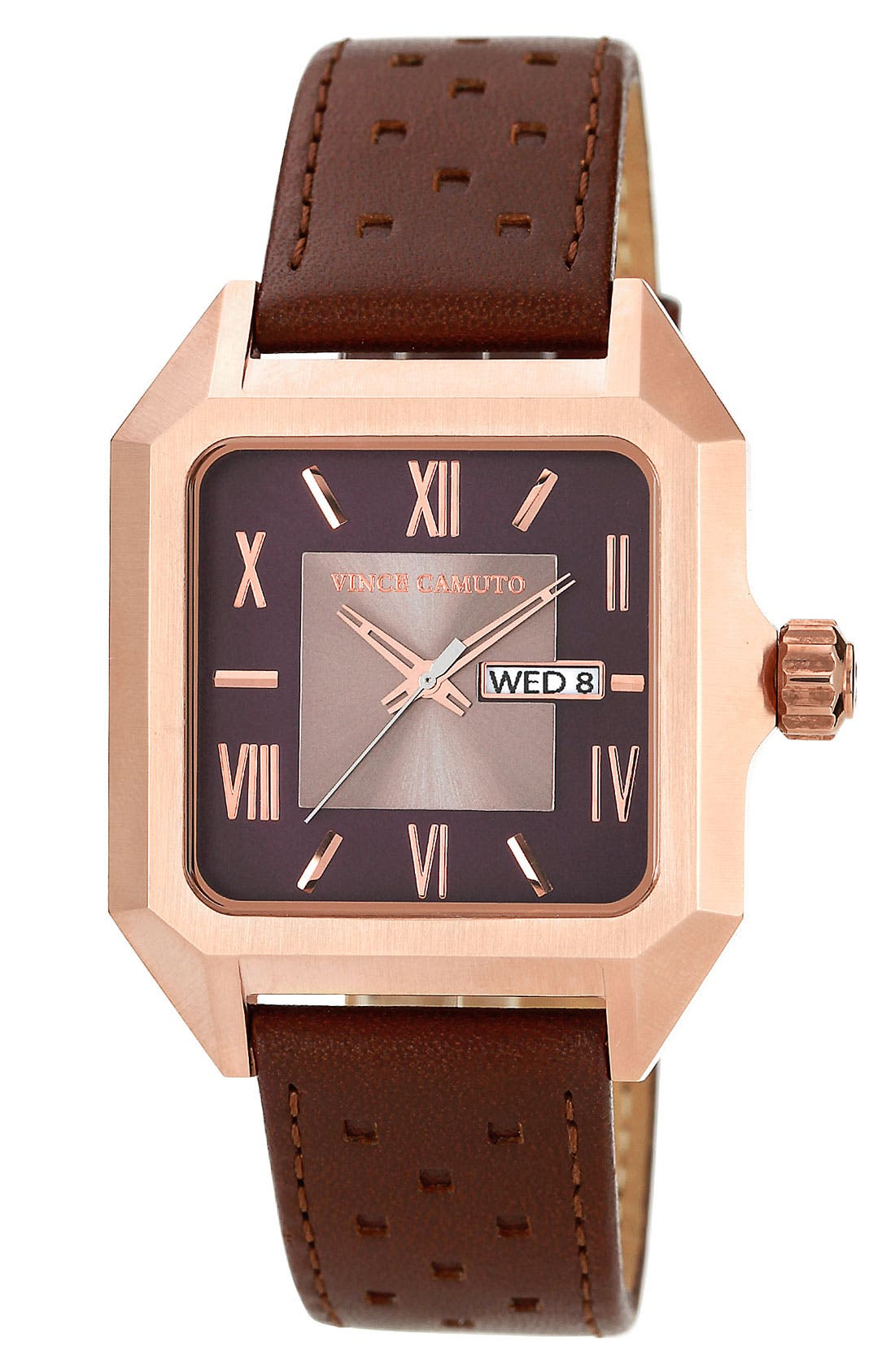 Alternate Image 1 Selected - Vince Camuto Square Dial Leather Strap Watch, 39mm