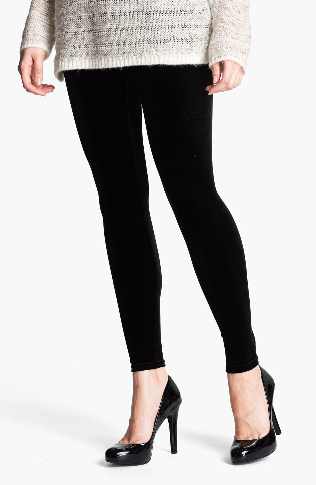 Alternate Image 2  - Nordstrom Back Zip Velvet Leggings