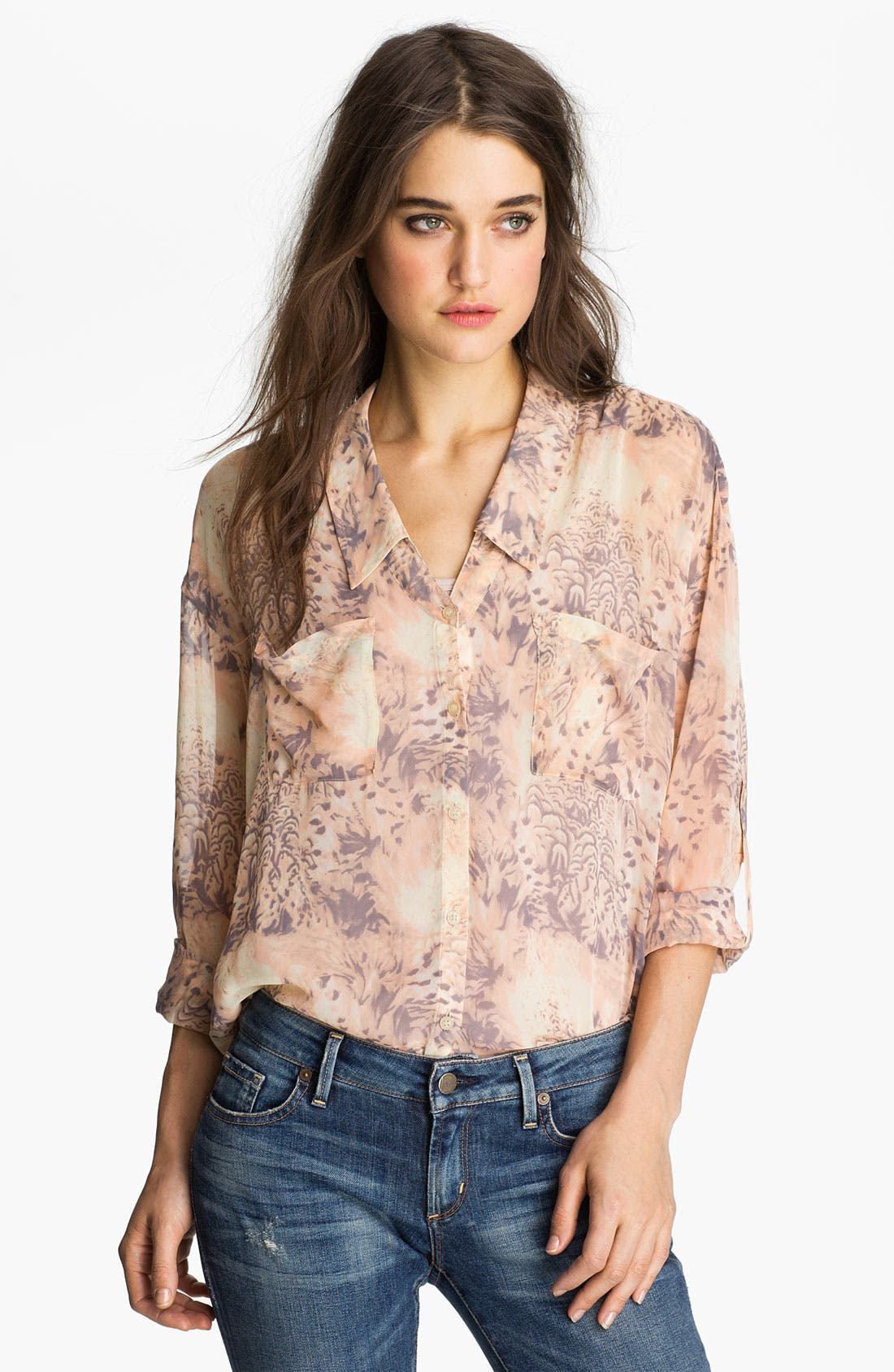Alternate Image 1 Selected - Free People Feather Print Chiffon Shirt