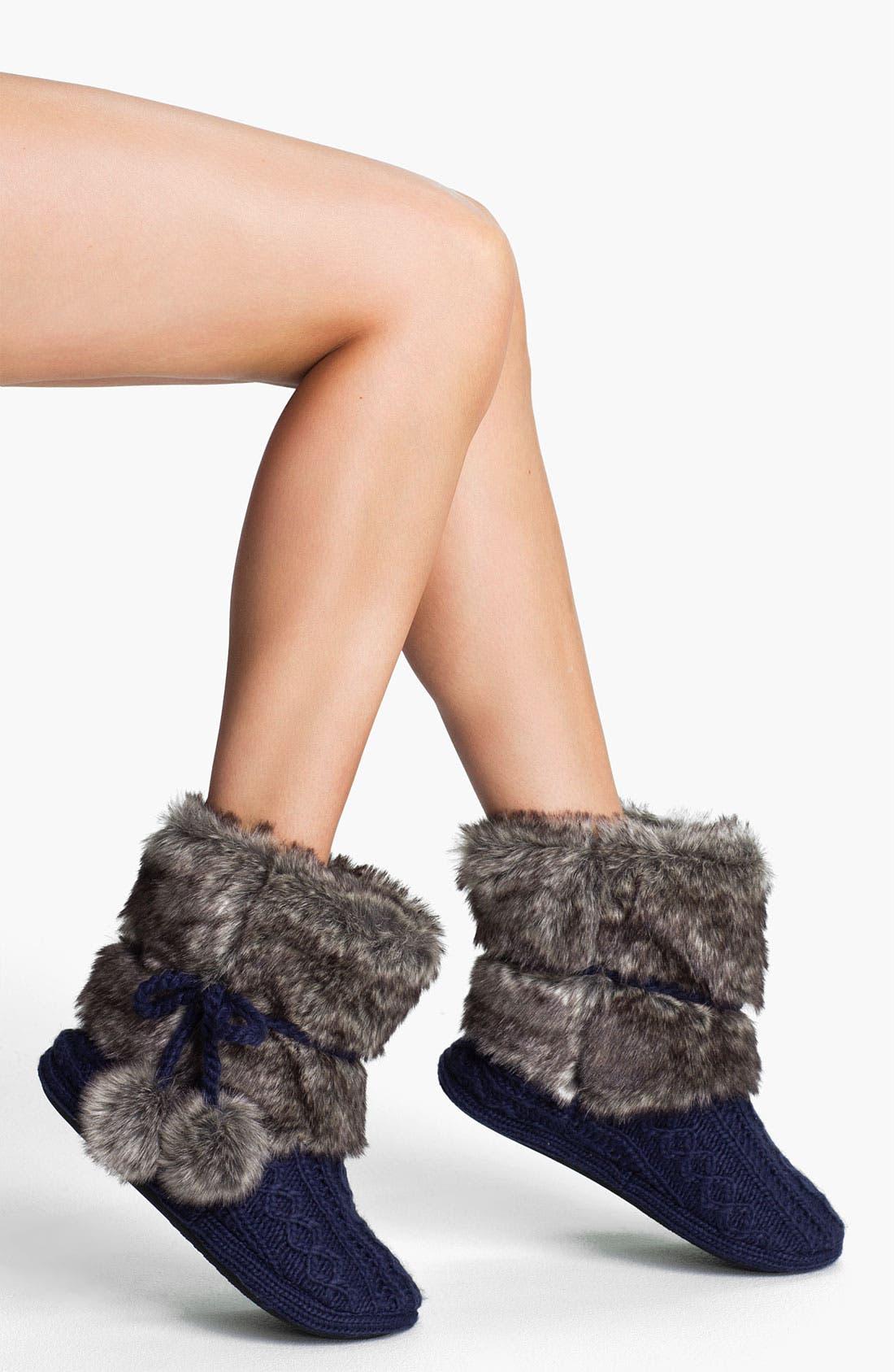 Alternate Image 1 Selected - Make + Model Faux Fur Trim Slipper Socks