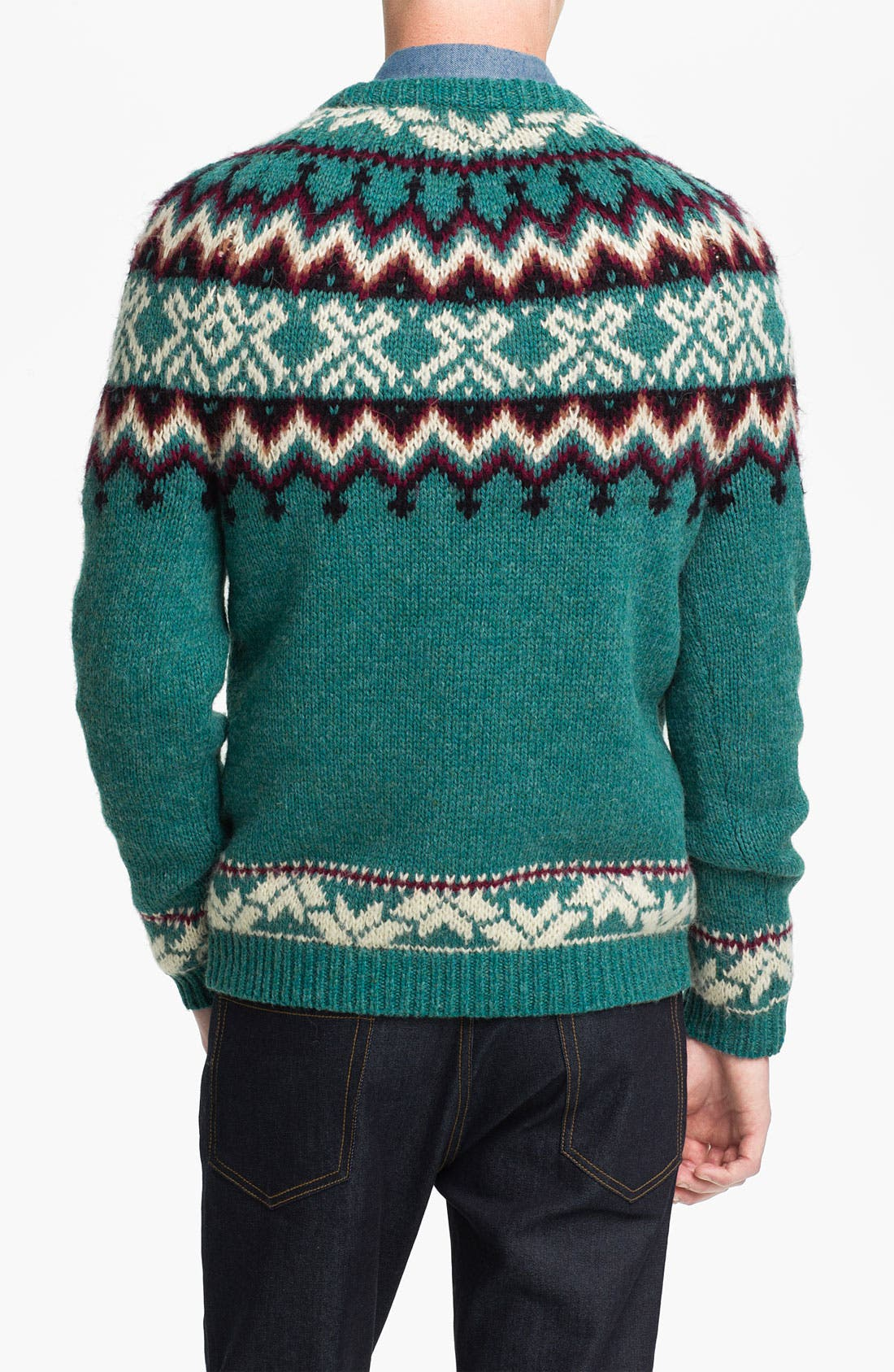 Alternate Image 2  - Topman Pattern Crewneck Sweater