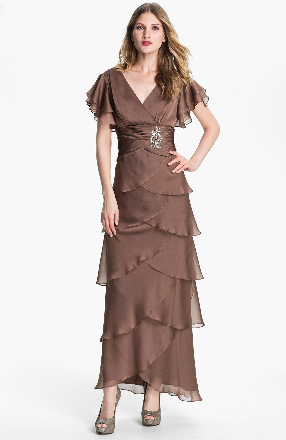 Alternate Image 1 Selected - Adrianna Papell Flutter Sleeve Tiered Chiffon Gown
