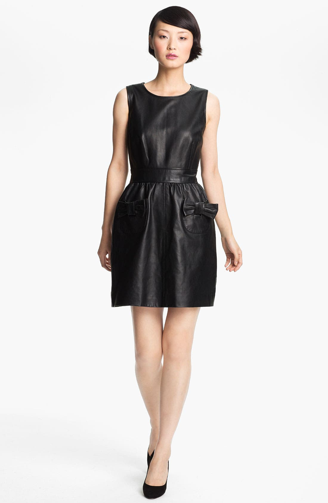 Alternate Image 1 Selected - RED Valentino Bow Detail Leather Dress