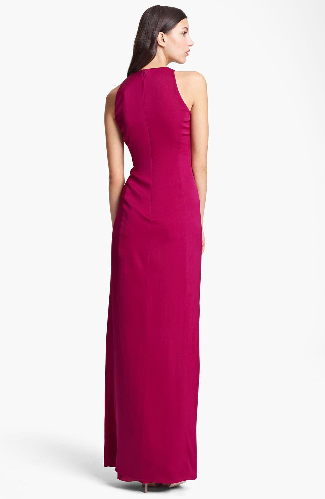 Alternate Image 2  - Armani Collezioni Gathered Matte Silk Gown
