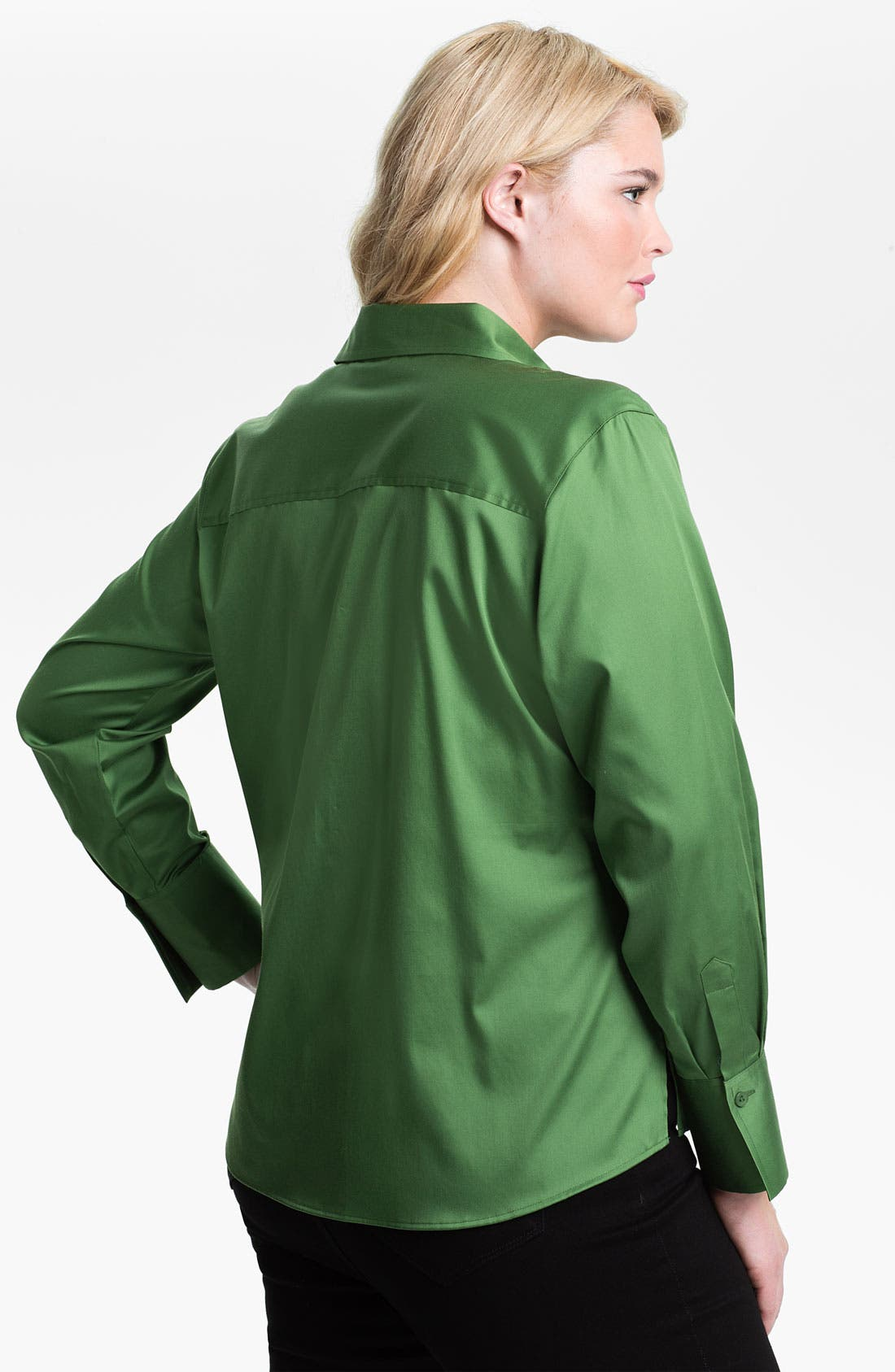 Alternate Image 2  - Foxcroft Shaped Stretch Sateen Shirt (Plus)