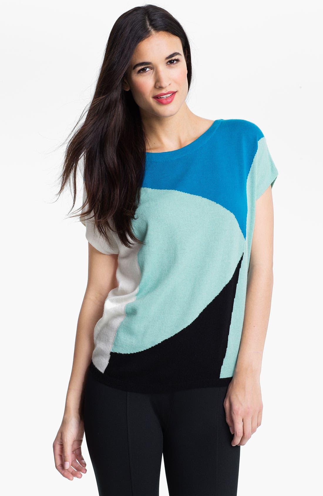 Alternate Image 1 Selected - Vince Camuto Bateau Neck Colorblock Sweater
