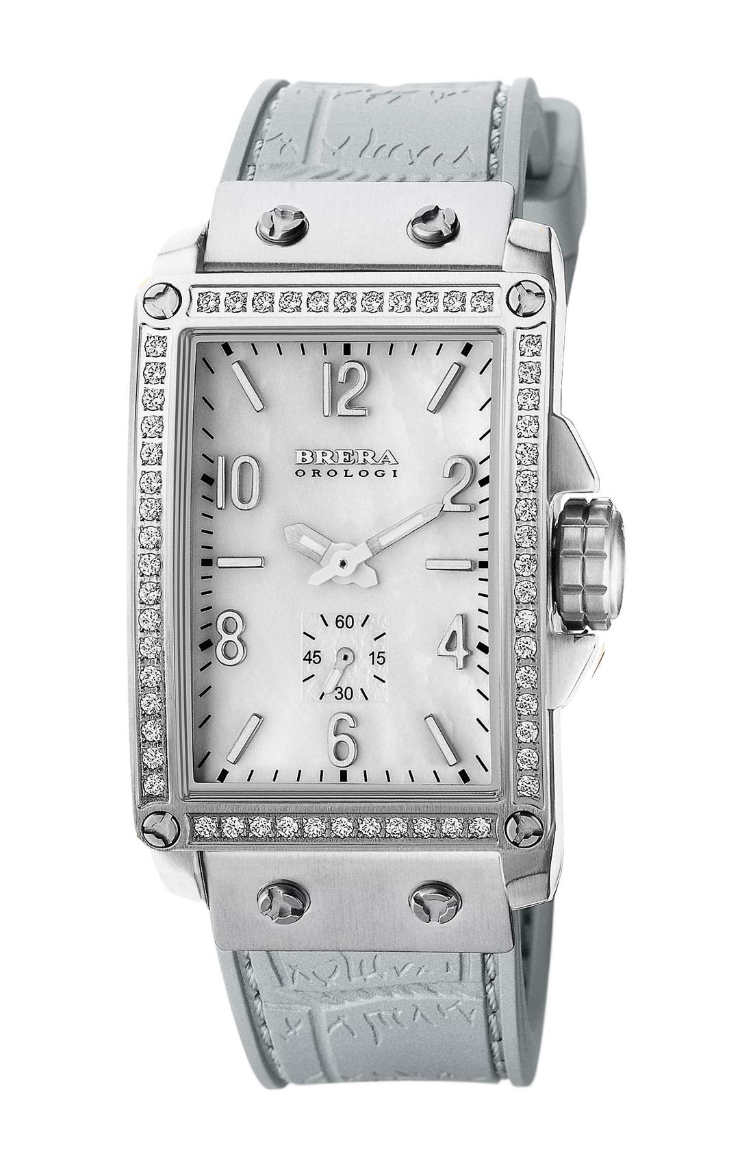 Main Image - FRANCESCA DIAMOND TANK WATCH WITH SILICONE STRAP