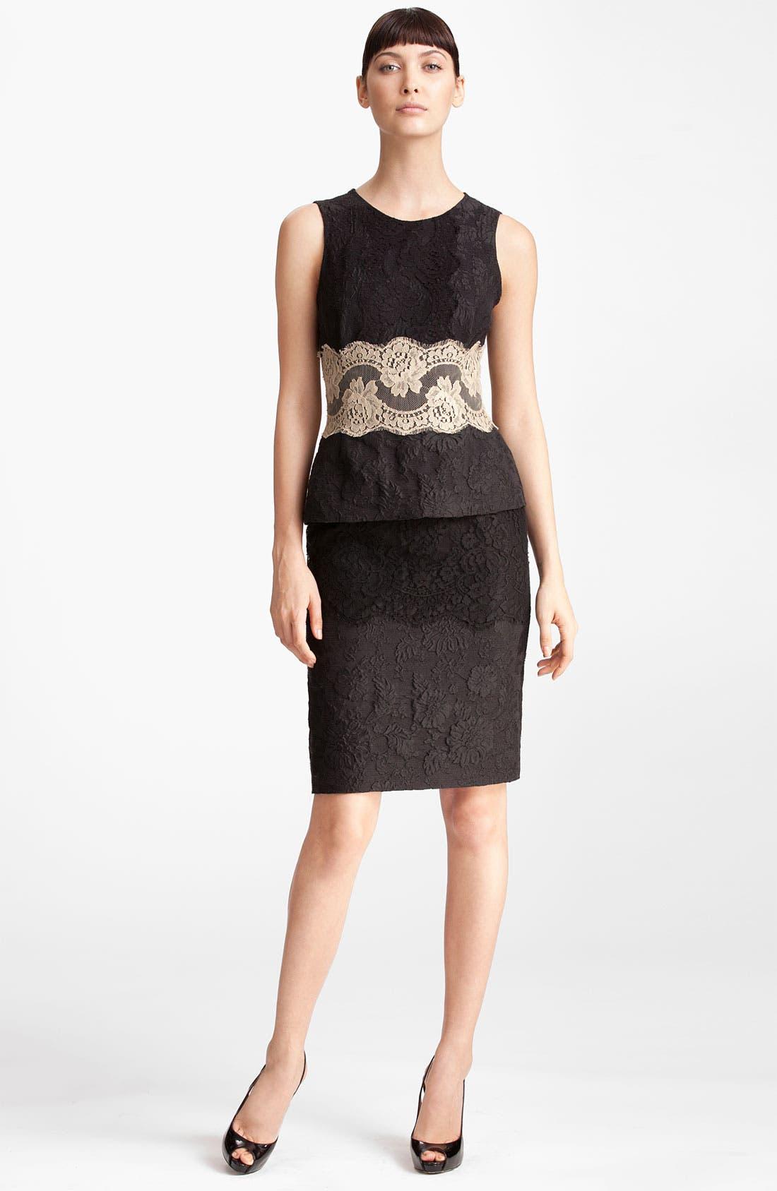 Main Image - Dolce&Gabbana Contrast Lace & Jacquard Peplum Dress
