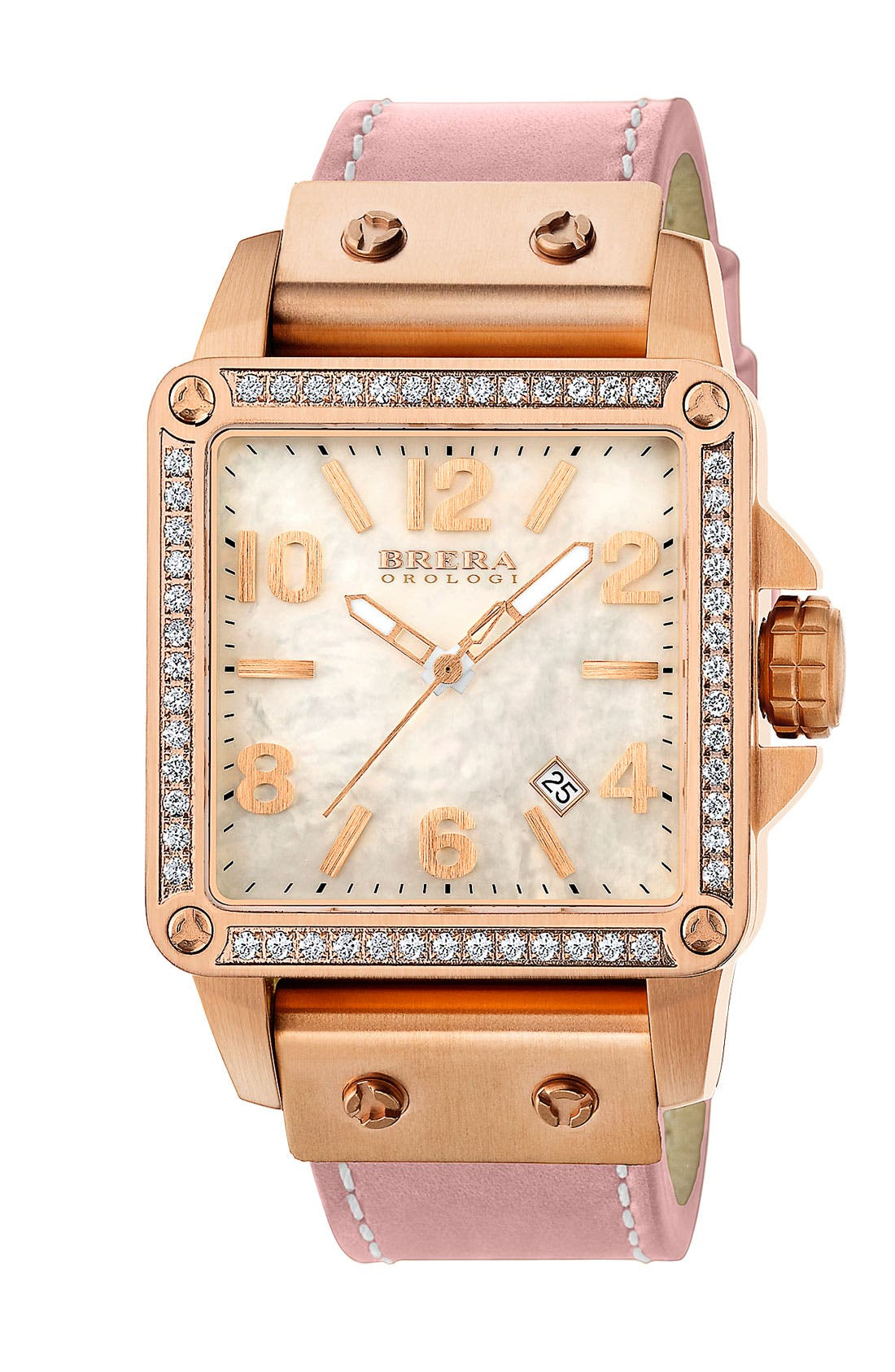 Main Image - STELLA SQUARE DIAMOND WATCH W/ LEATHER STRAP