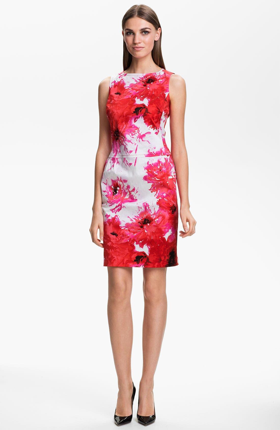 Main Image - St. John Collection Chrysanthemum Print Stretch Sateen Dress