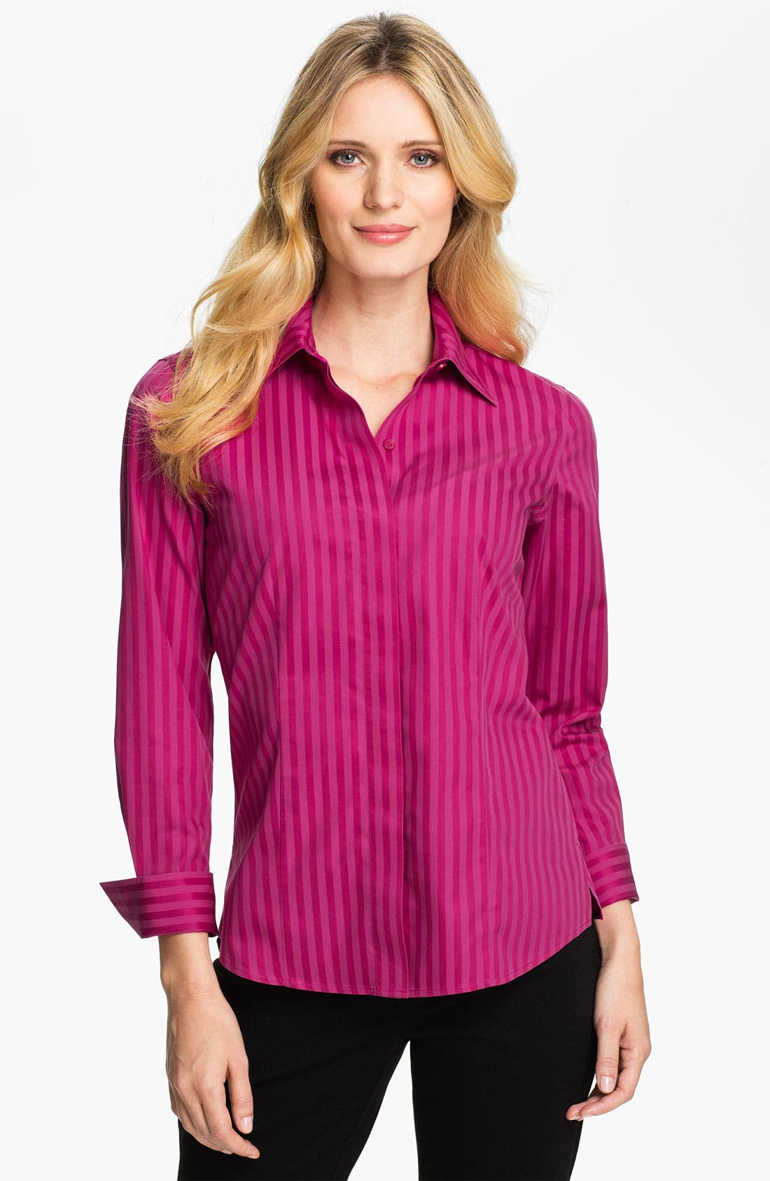 Alternate Image 1 Selected - Foxcroft Satin Stripe Shirt