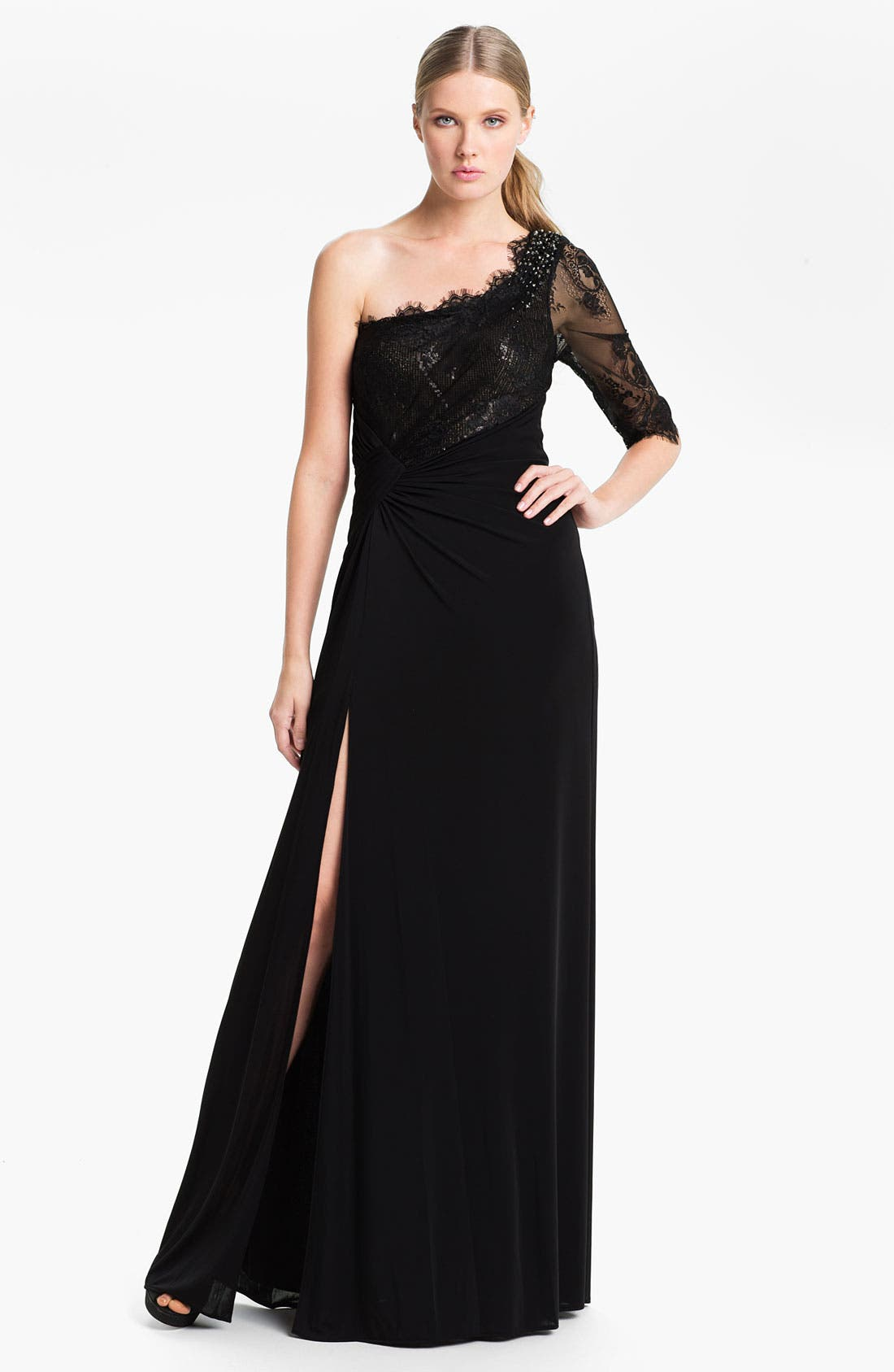 Alternate Image 1 Selected - Faviana One Shoulder Jersey Gown