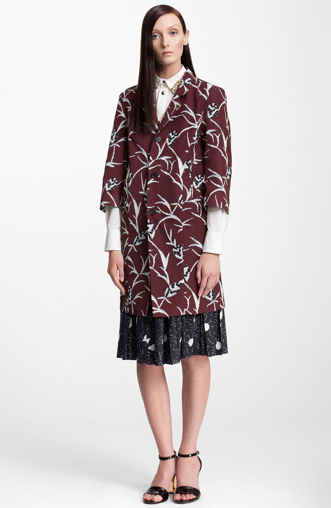 Main Image - Marni Floral Structure Print Cotton Blend Coat