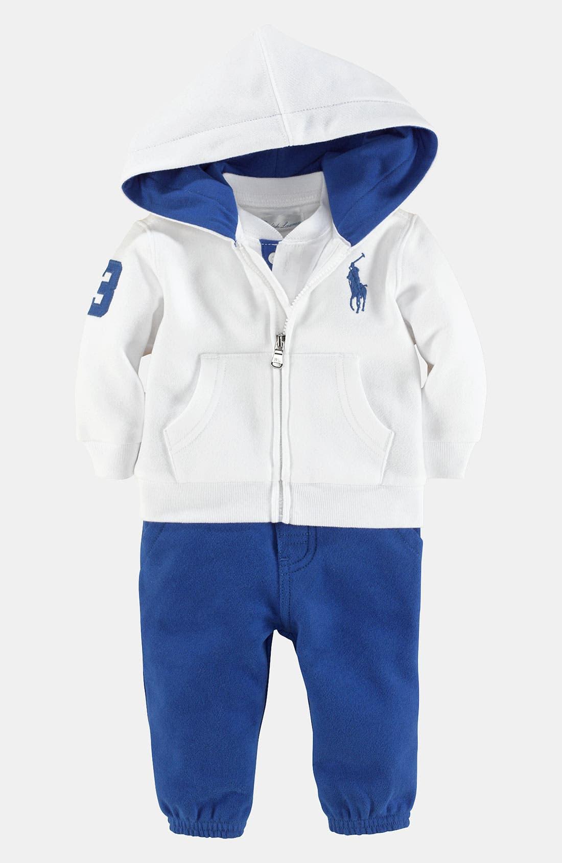 Alternate Image 1 Selected - Ralph Lauren Bodysuit, Hoodie & Pants (Infant)
