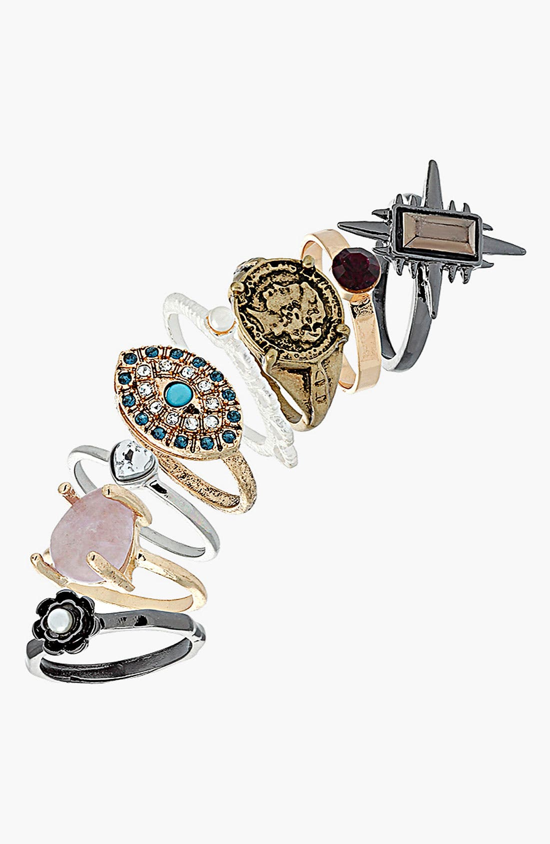 Alternate Image 1 Selected - Topshop 'Coin/Stone/Star' Rings (Set of 8)