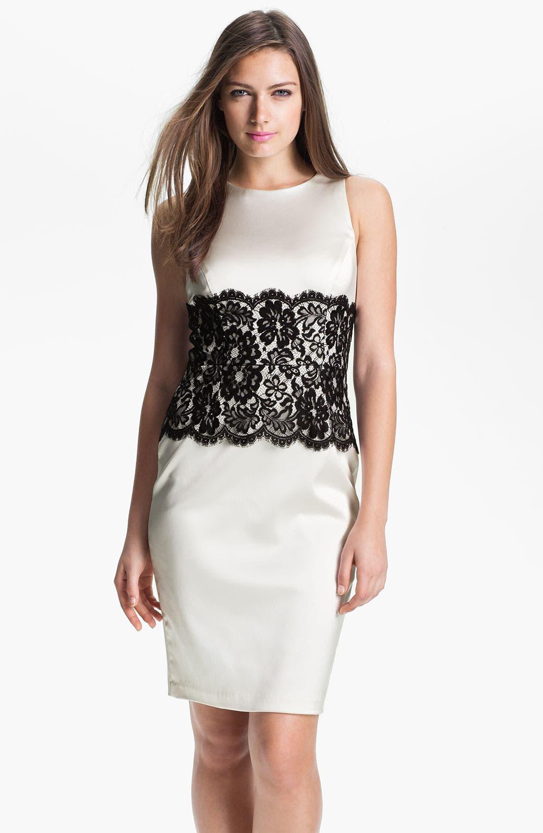 Main Image - Xscape Lace Panel Satin Sheath Dress
