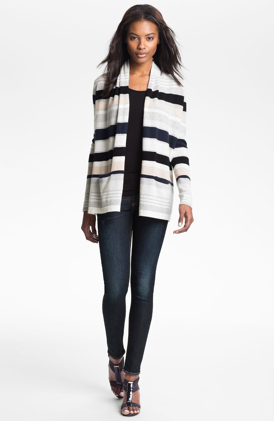 Main Image - autumn cashmere Multi Stripe Drape Front Cardigan