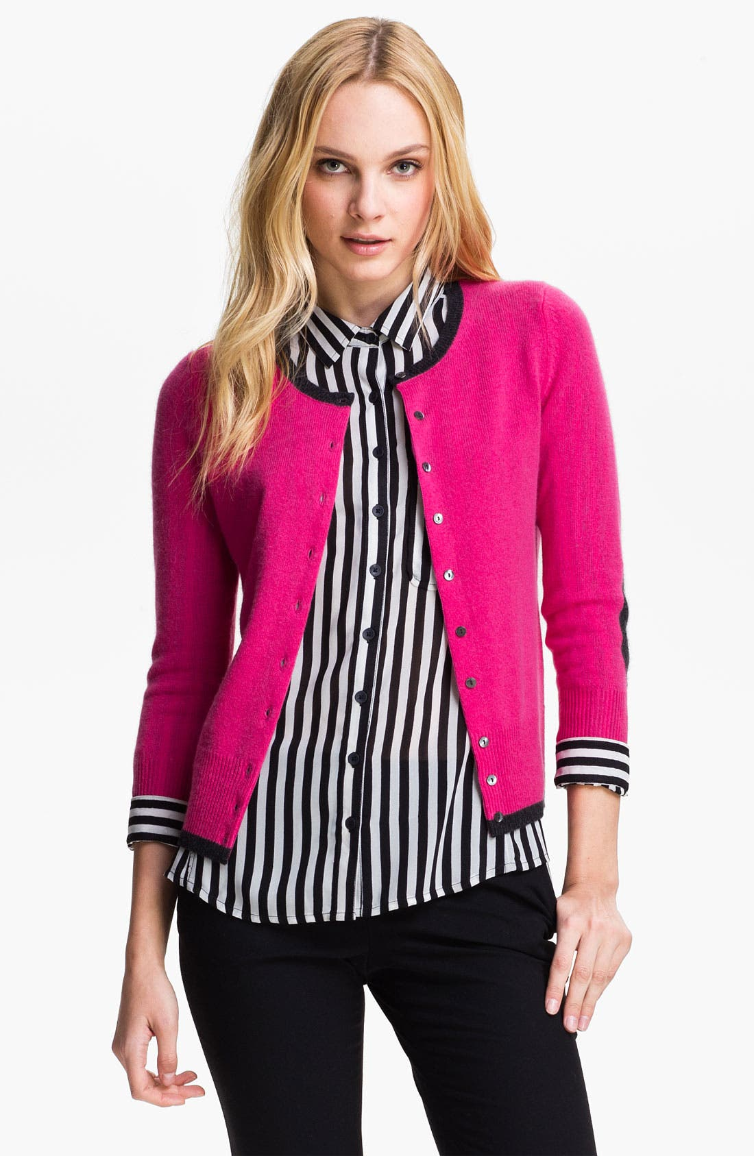 Alternate Image 1 Selected - Only Mine Elbow Patch Cashmere Cardigan (Petite)