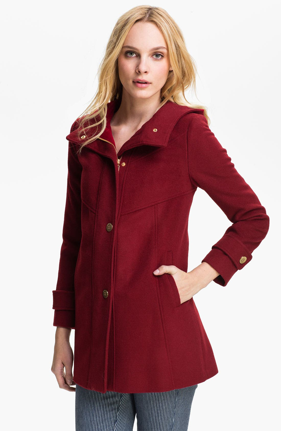 Main Image - Ellen Tracy Hooded Wool Blend Coat (Petite)
