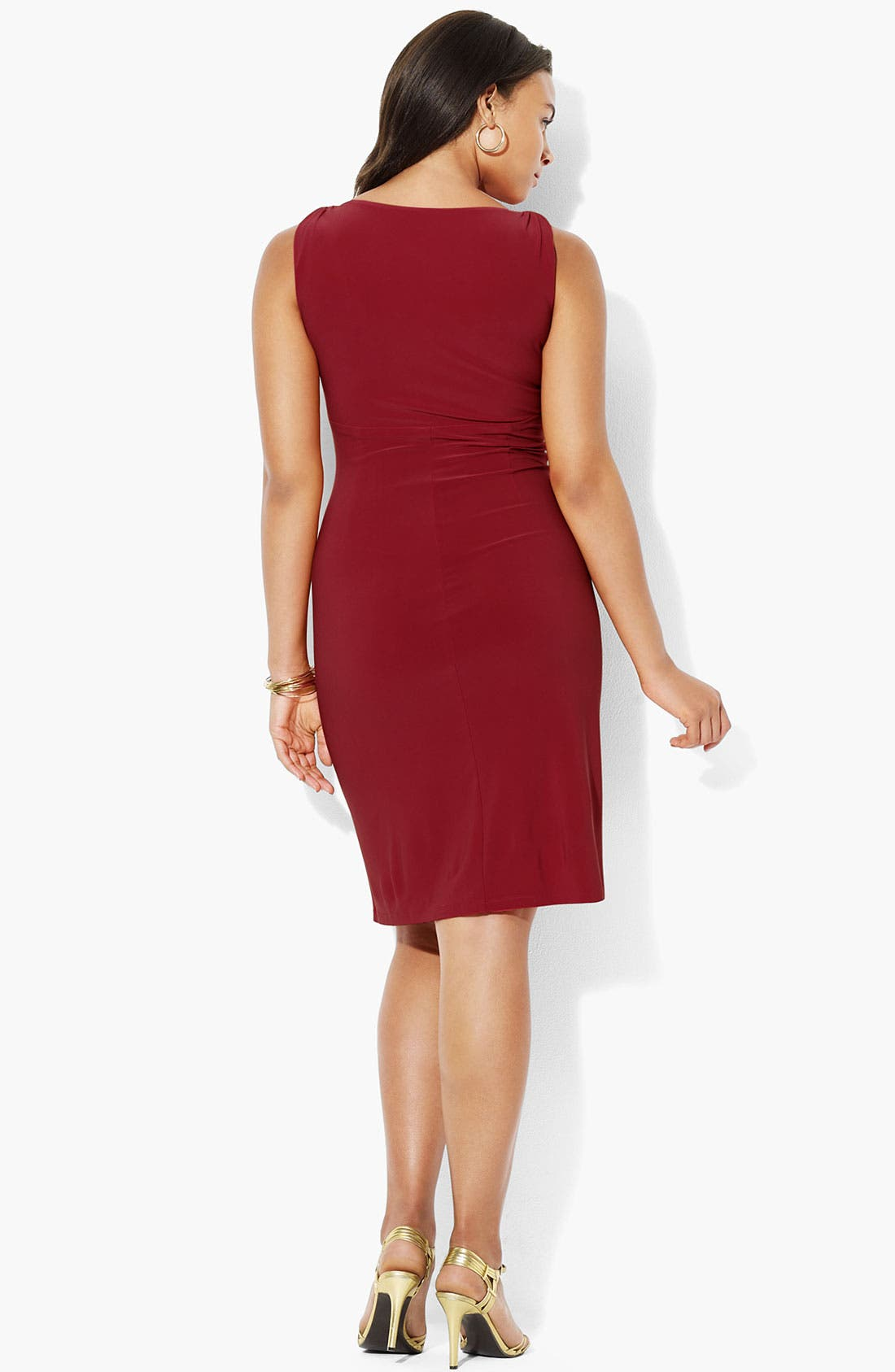 Alternate Image 2  - Lauren Ralph Lauren V-Neck Jersey Sheath Dress (Plus)
