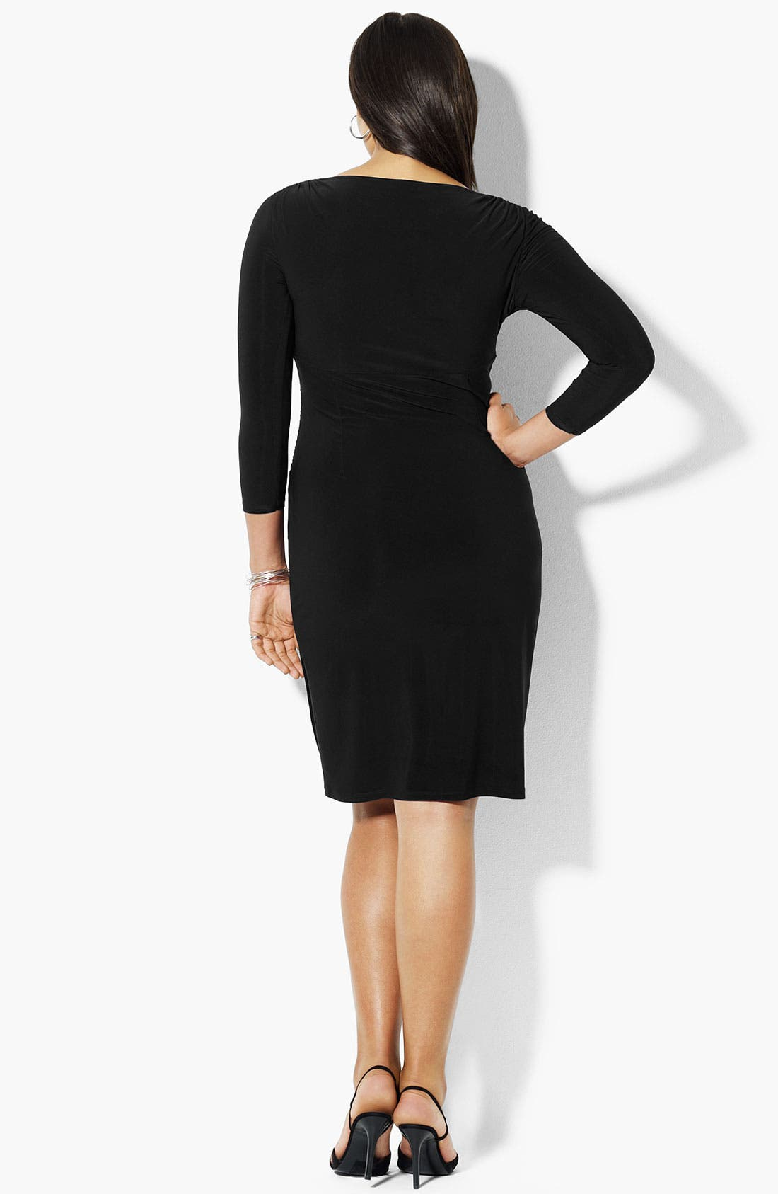 Alternate Image 2  - Lauren Ralph Lauren Surplice Matte Jersey Dress (Plus)