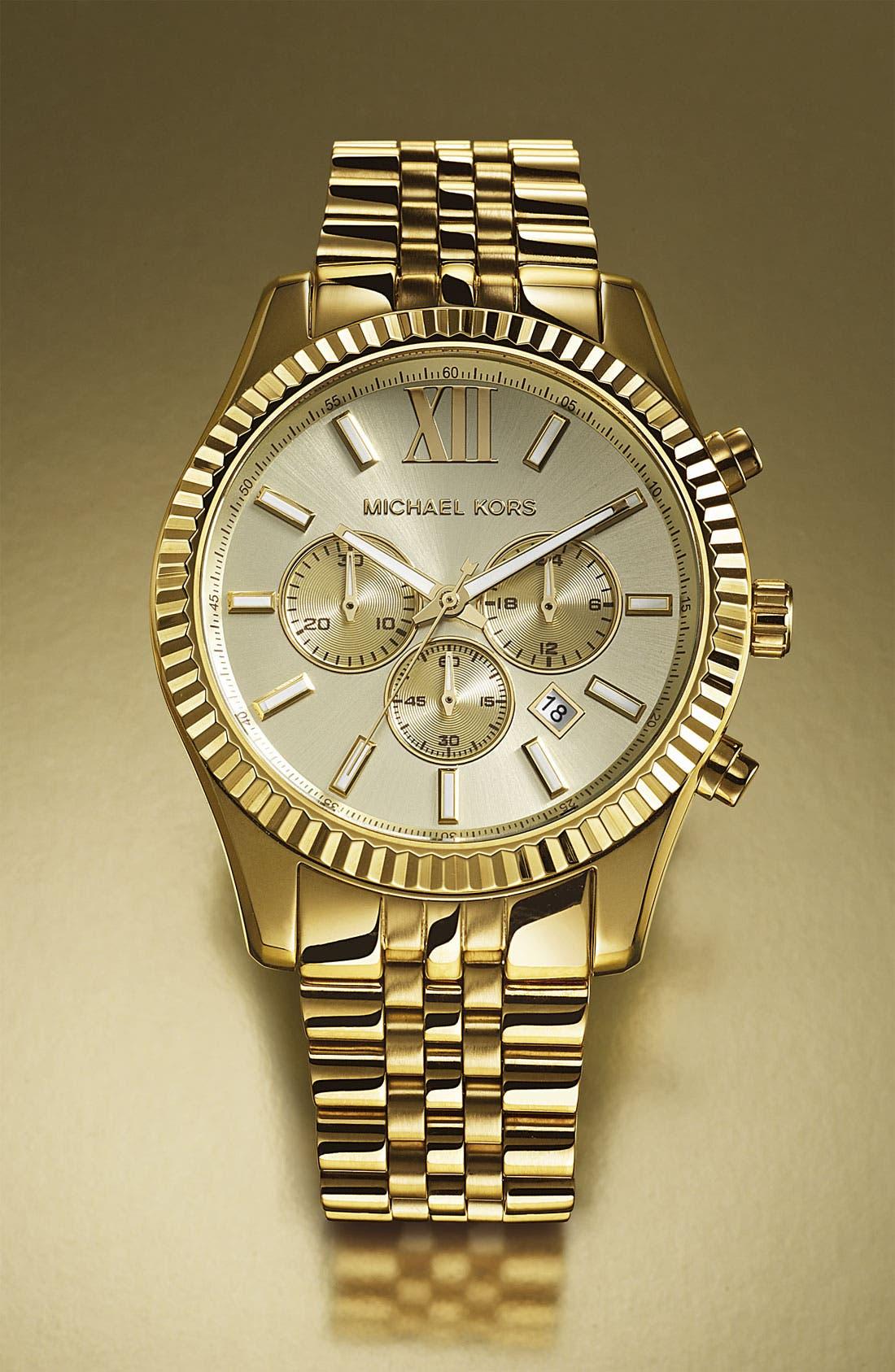 'Large Lexington' Chronograph Bracelet Watch, 45mm,                             Alternate thumbnail 4, color,