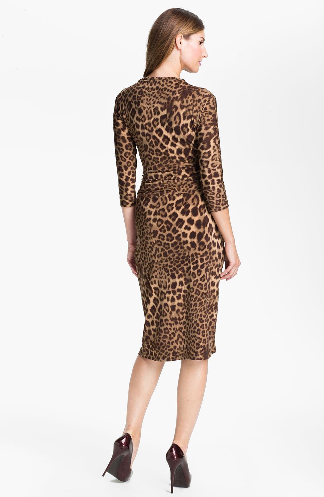 Alternate Image 2  - Anne Klein Leopard Print V-Neck Dress (Online Exclusive)