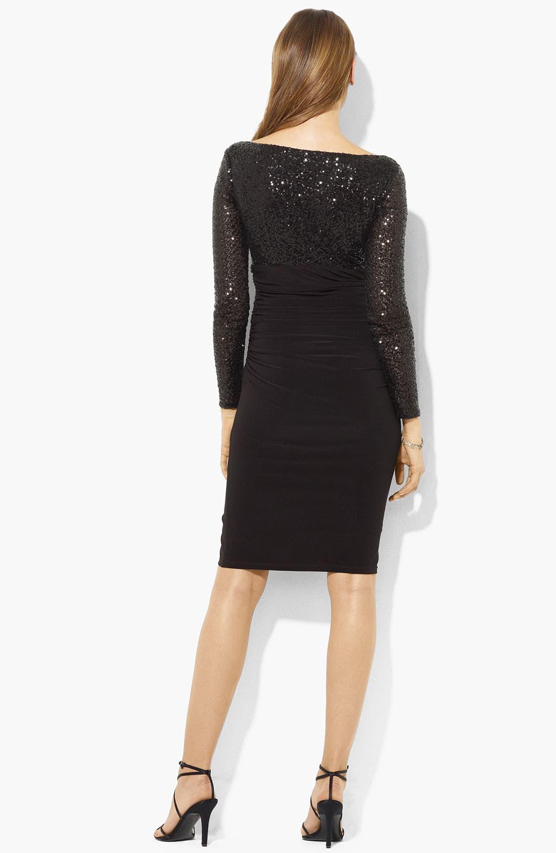 Alternate Image 2  - Lauren Ralph Lauren Sequin Bodice Ruched Jersey Dress (Petite)