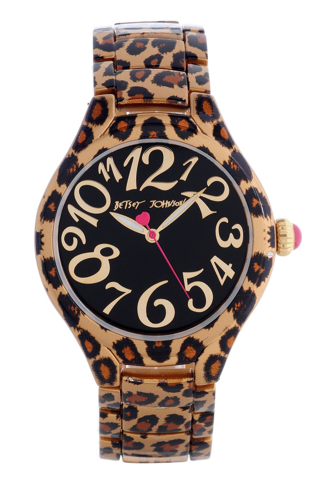 Alternate Image 1 Selected - Betsey Johnson Leopard Print Expansion Band Watch