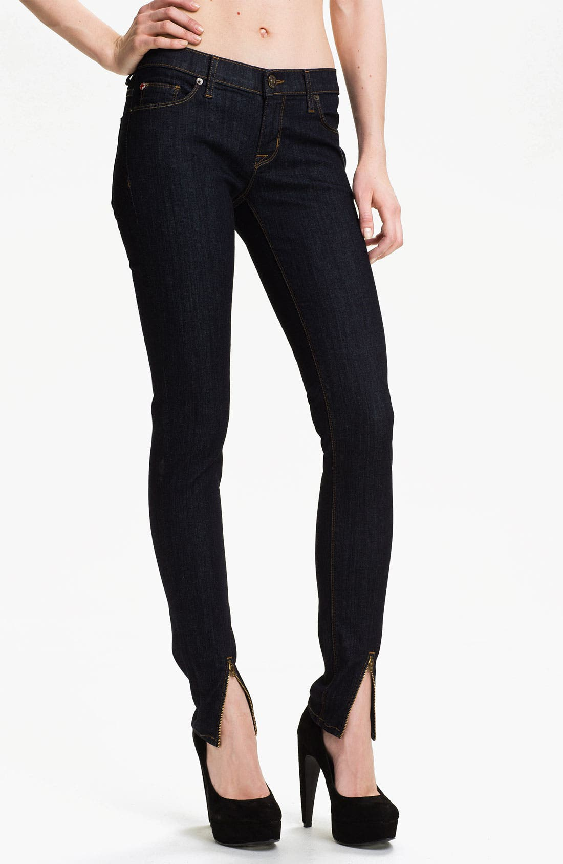 Alternate Image 1 Selected - Hudson Jeans 'Juliette' Ankle Zip Super Skinny Jeans (Rinse)