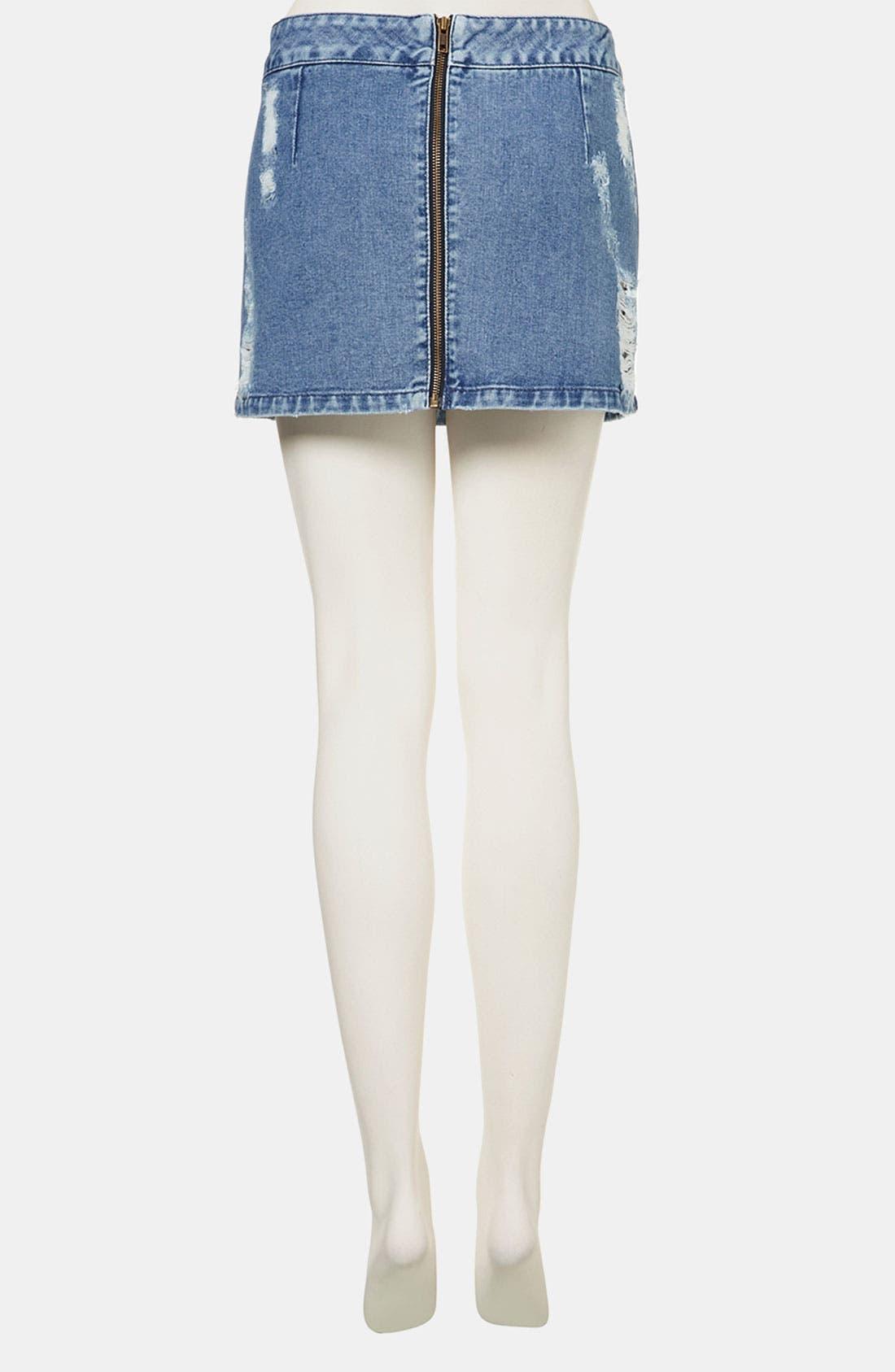Alternate Image 2  - Topshop Moto Distressed Denim Miniskirt