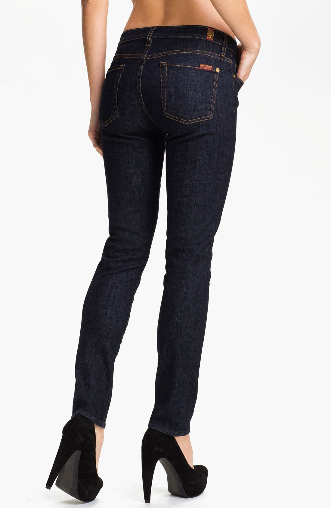 Alternate Image 2  - 7 For All Mankind® 'The Slim Cigarette' Stretch Jeans (Rinse)
