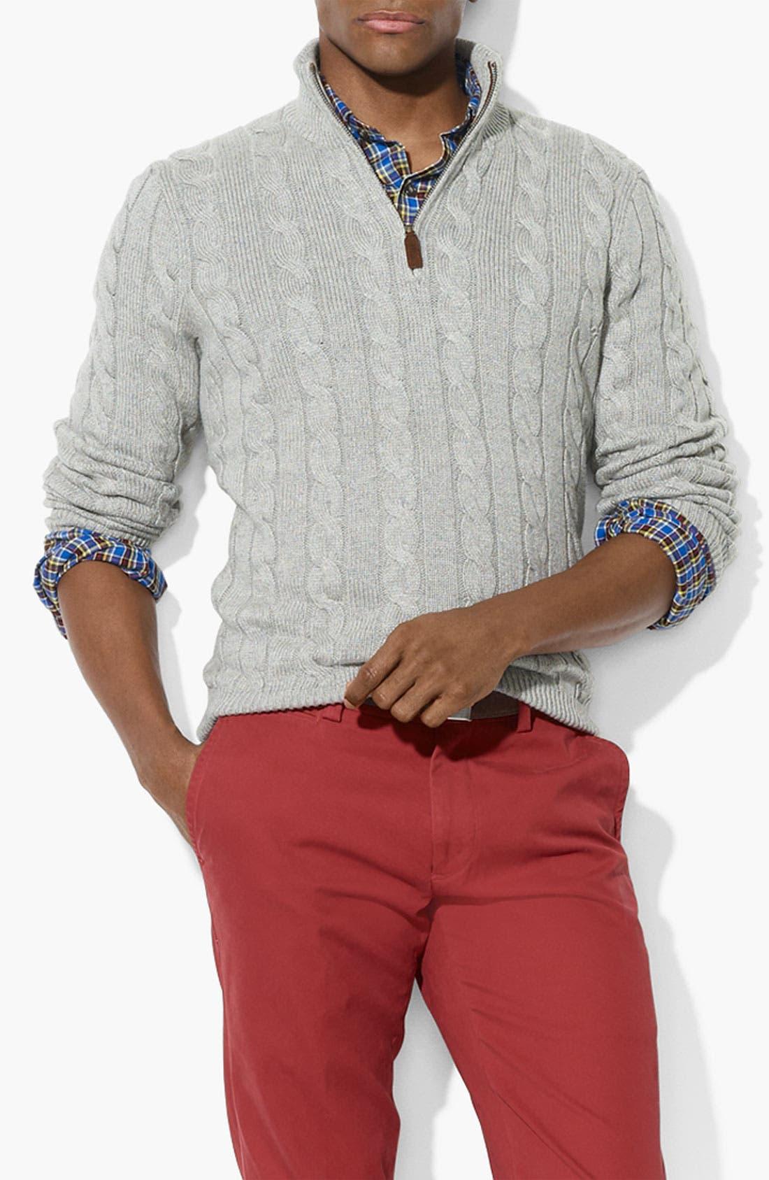Alternate Image 1 Selected - Polo Ralph Lauren Half Zip Silk & Cashmere Sweater