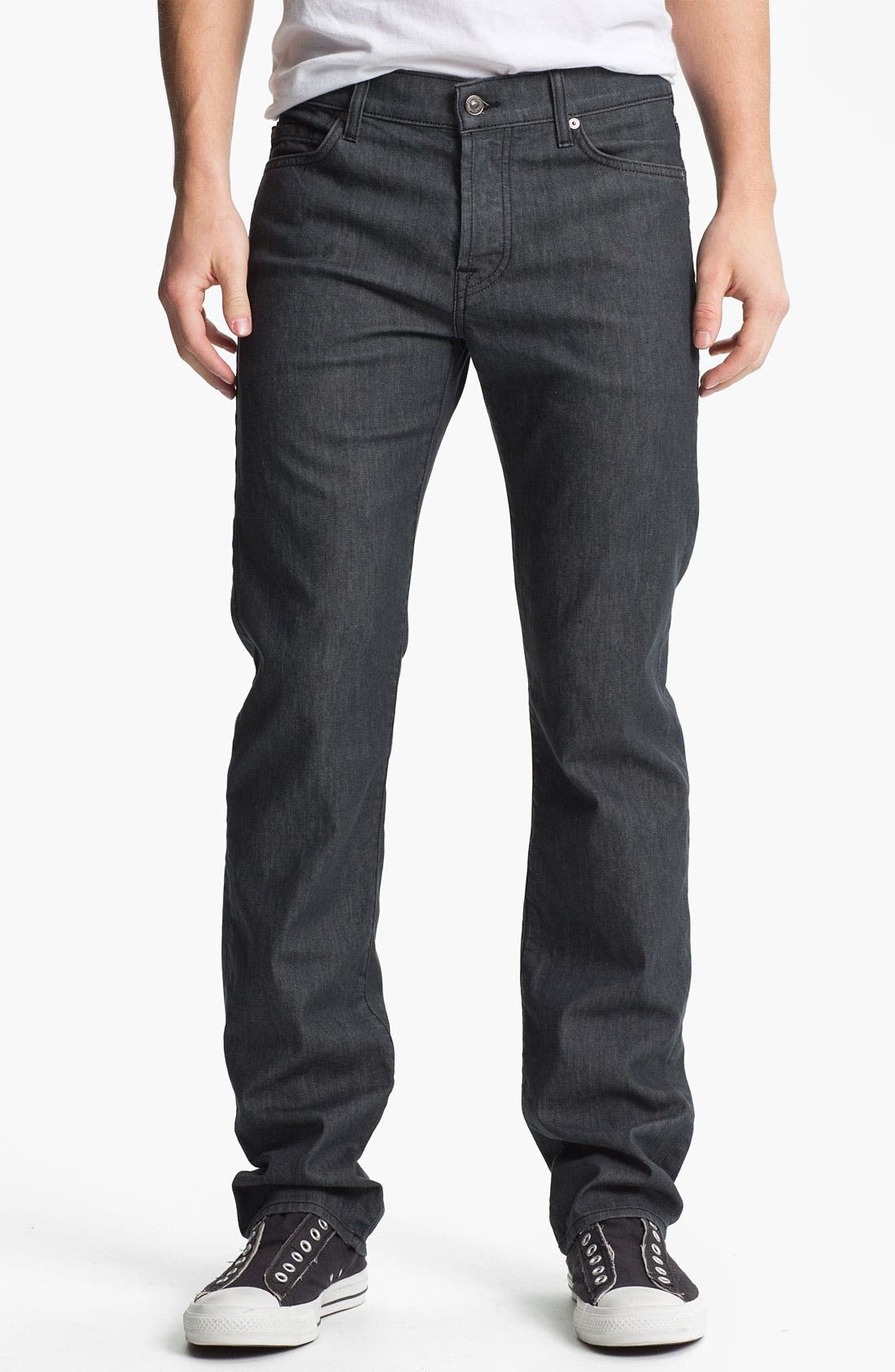 Main Image - 7 For All Mankind® 'Standard' Straight Leg Jeans (Clean Grey)