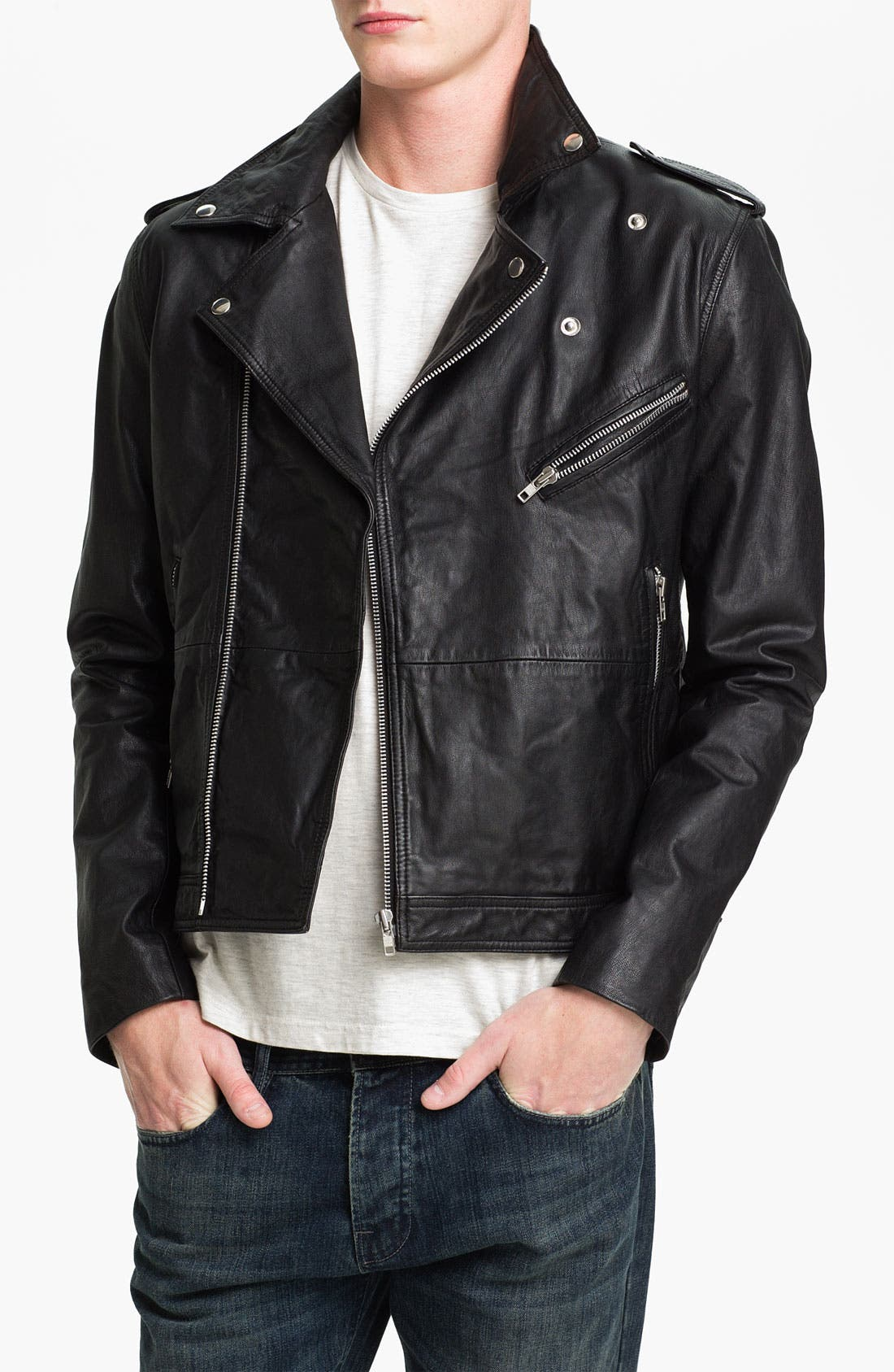 Alternate Image 1 Selected - Topman Leather Biker Jacket