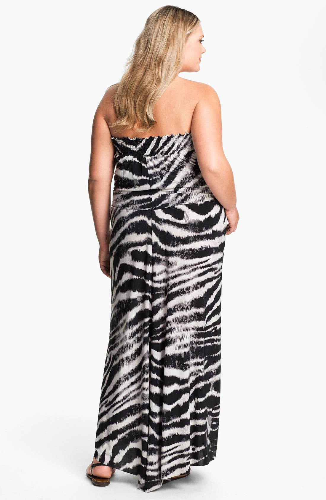 Alternate Image 2  - Tbags Los Angeles Tie Waist Strapless Maxi Dress (Plus)