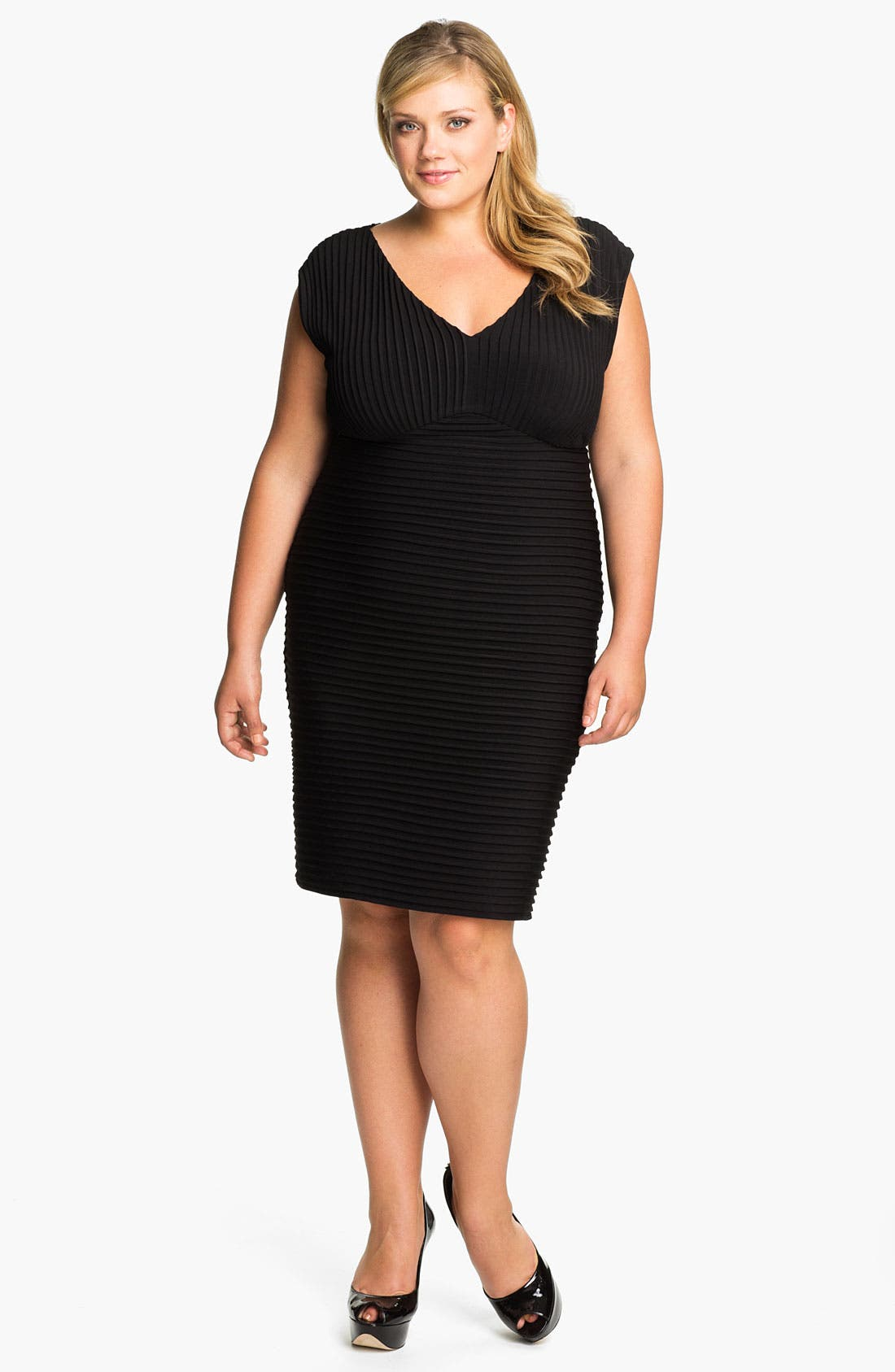 Main Image - Calvin Klein Pleated Matte Jersey Sheath Dress (Plus)