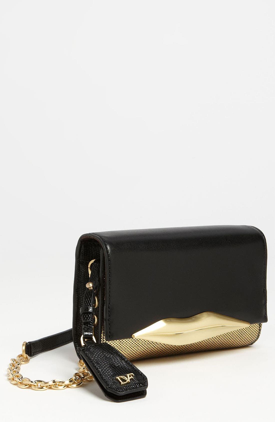 Alternate Image 1 Selected - Diane von Furstenberg 'Lips - Mini' Metallic Leather Clutch