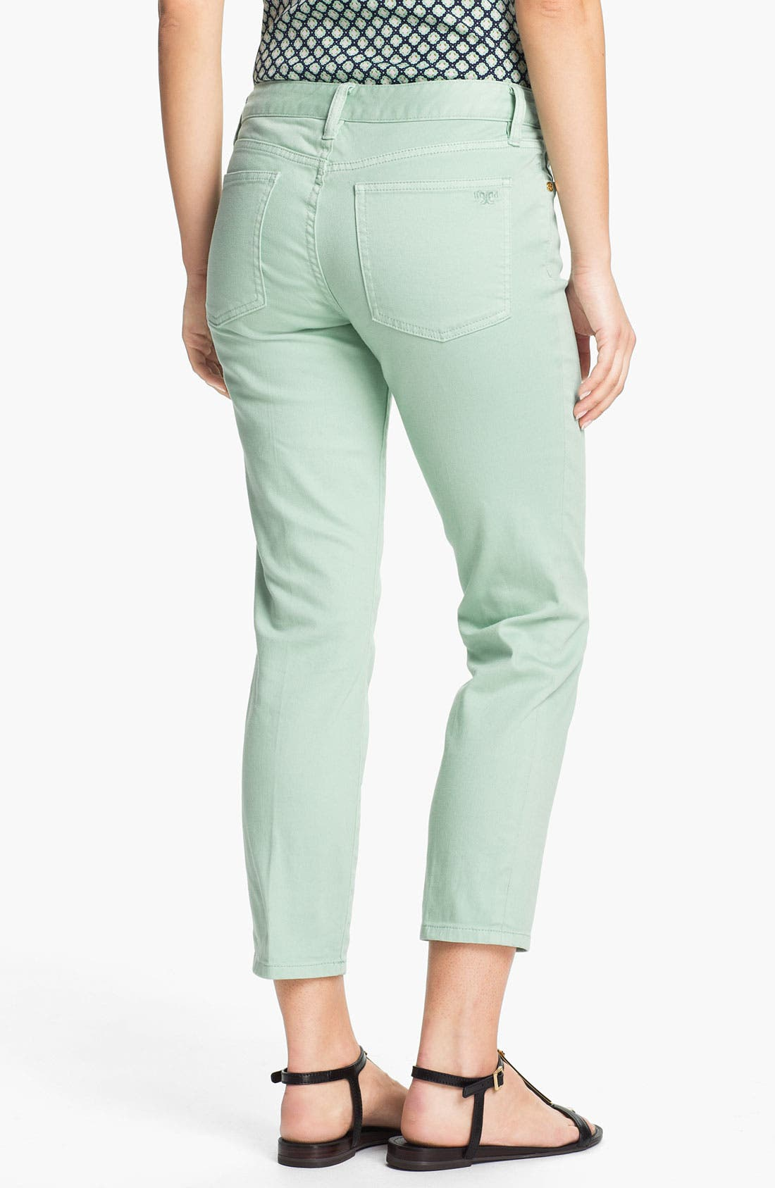 Alternate Image 2  - Tory Burch 'Alexa' Crop Skinny Stretch Jeans (Seaglass)
