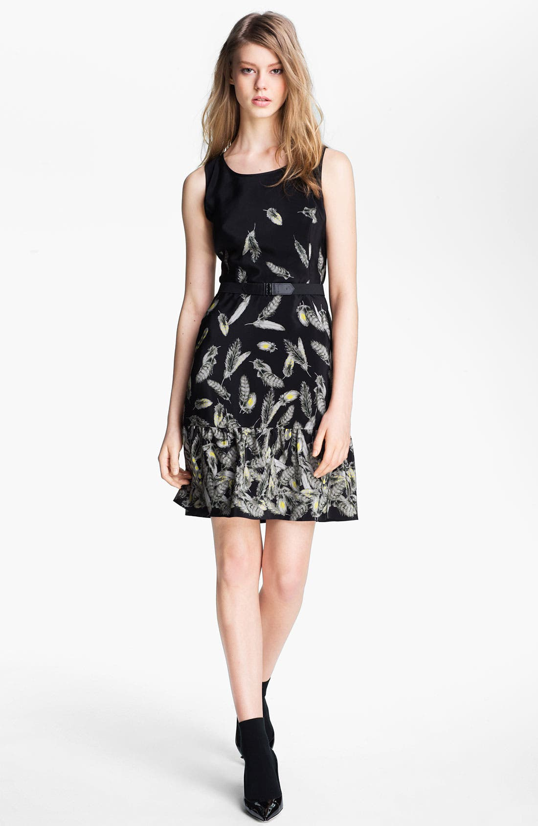 Main Image - Miss Wu 'Bella' Belted Feather Print Dress (Nordstrom Exclusive)