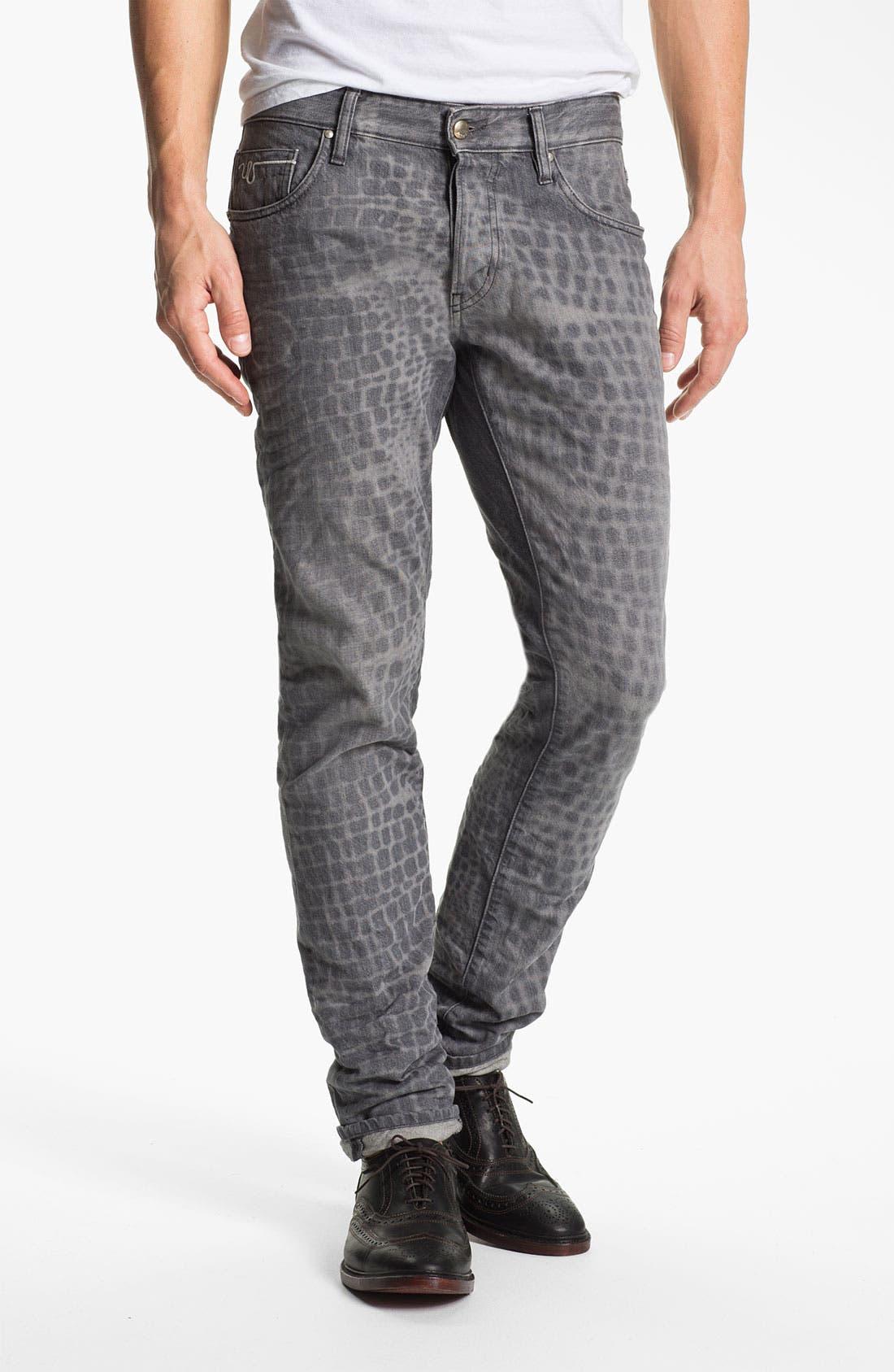 Alternate Image 2  - Just Cavalli Print Slim Straight Leg Jeans (Grey)