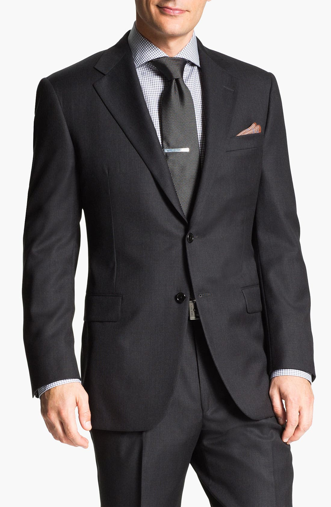 Alternate Image 4  - Hickey Freeman Charcoal Worsted Wool Suit